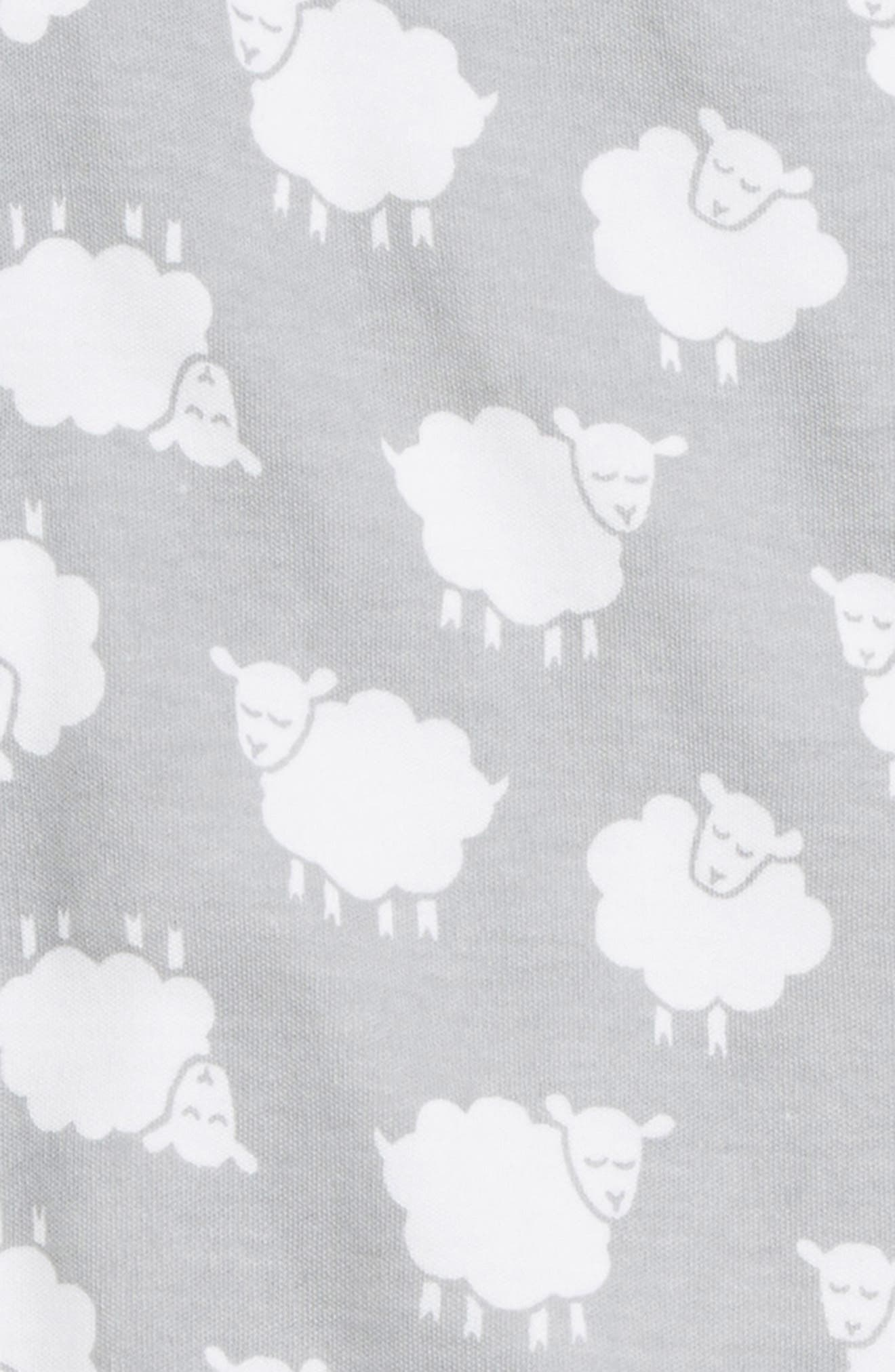 NORDSTROM BABY, Print Footie, Alternate thumbnail 2, color, GREY MICRO SHEEP