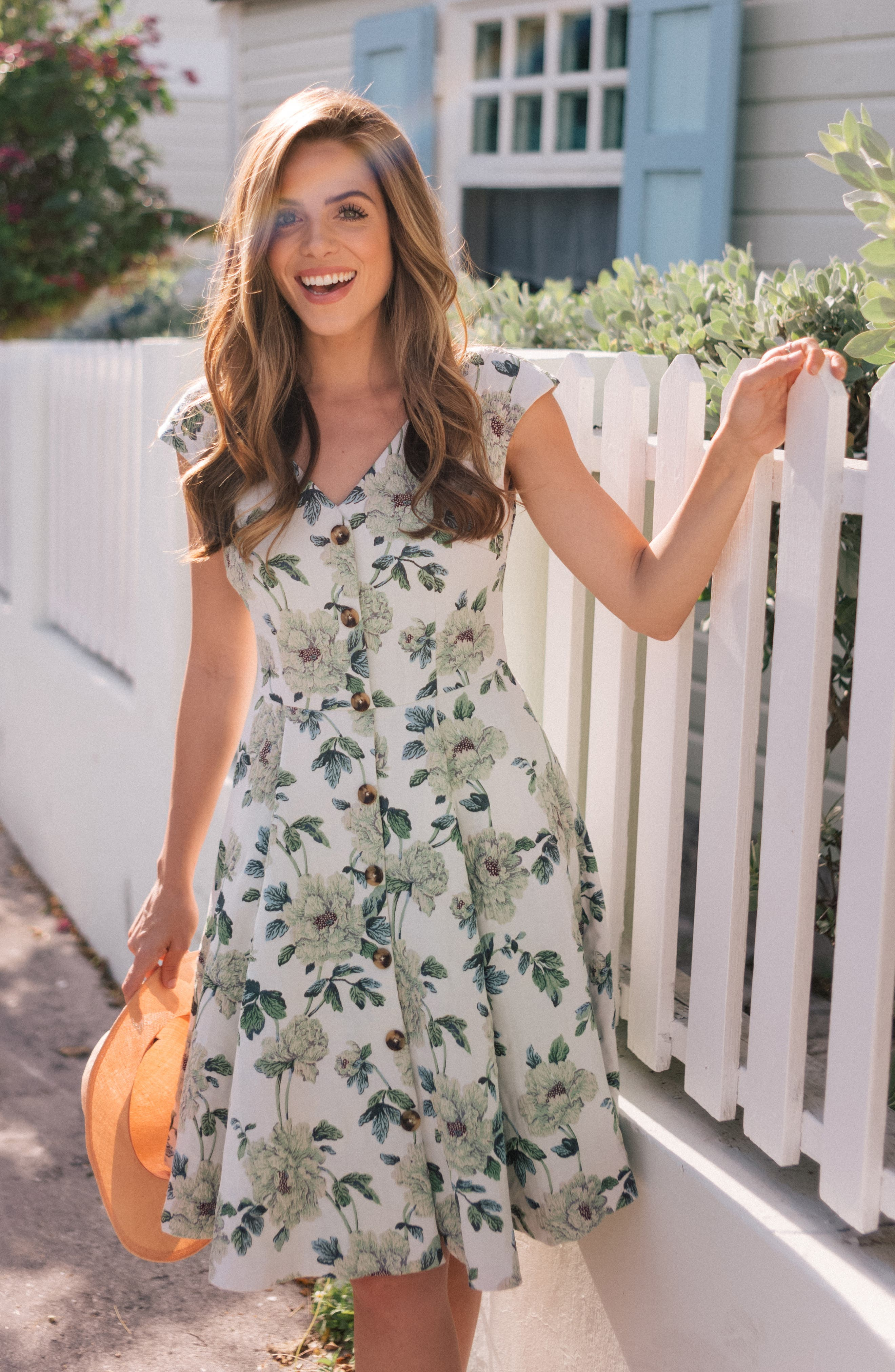 GAL MEETS GLAM COLLECTION, Lilly Button Detail Fit & Flare Dress, Alternate thumbnail 6, color, GREEN MULTI