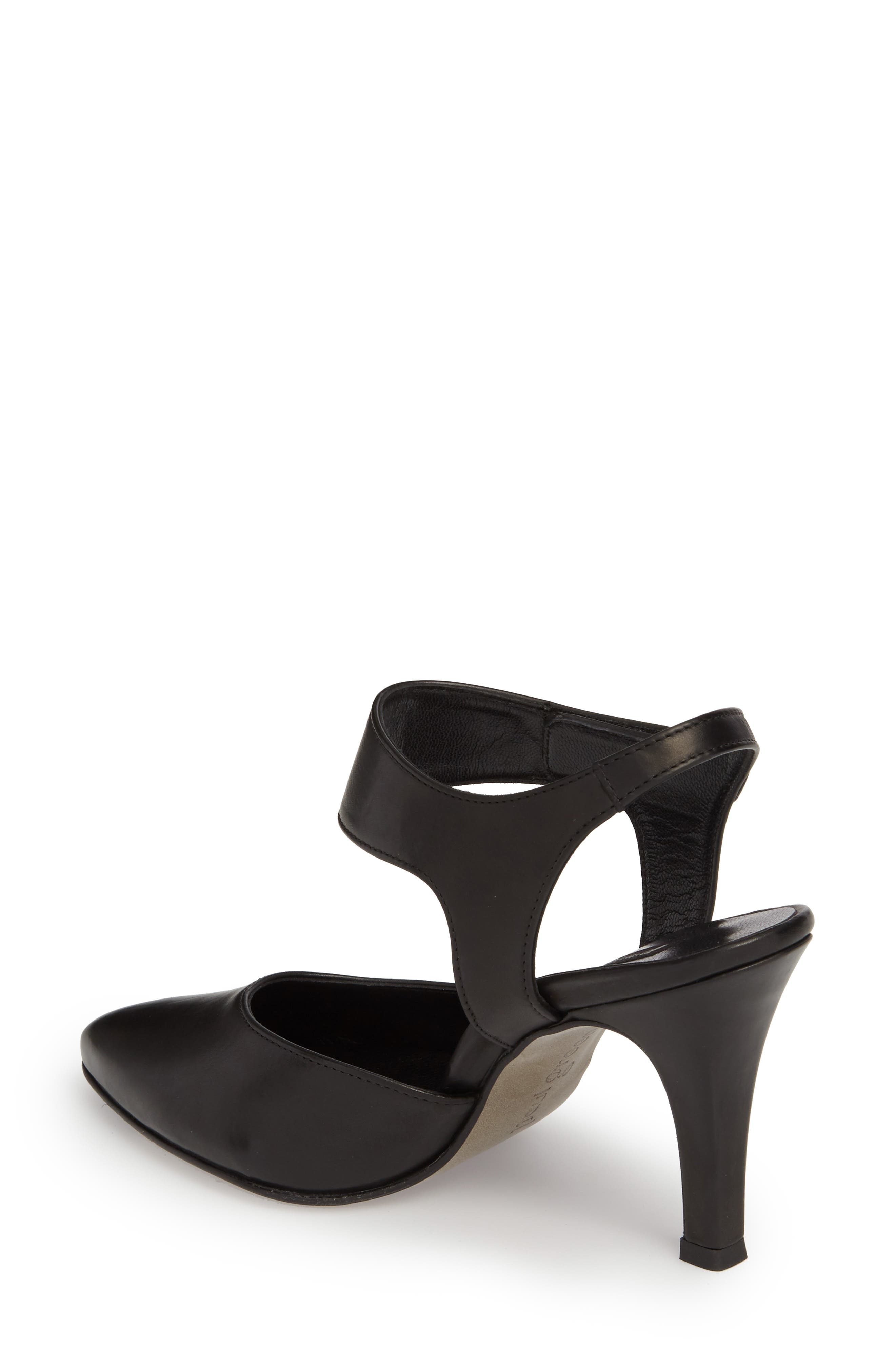PAUL GREEN, Nicolette Pointy Toe Pump, Alternate thumbnail 2, color, BLACK LEATHER