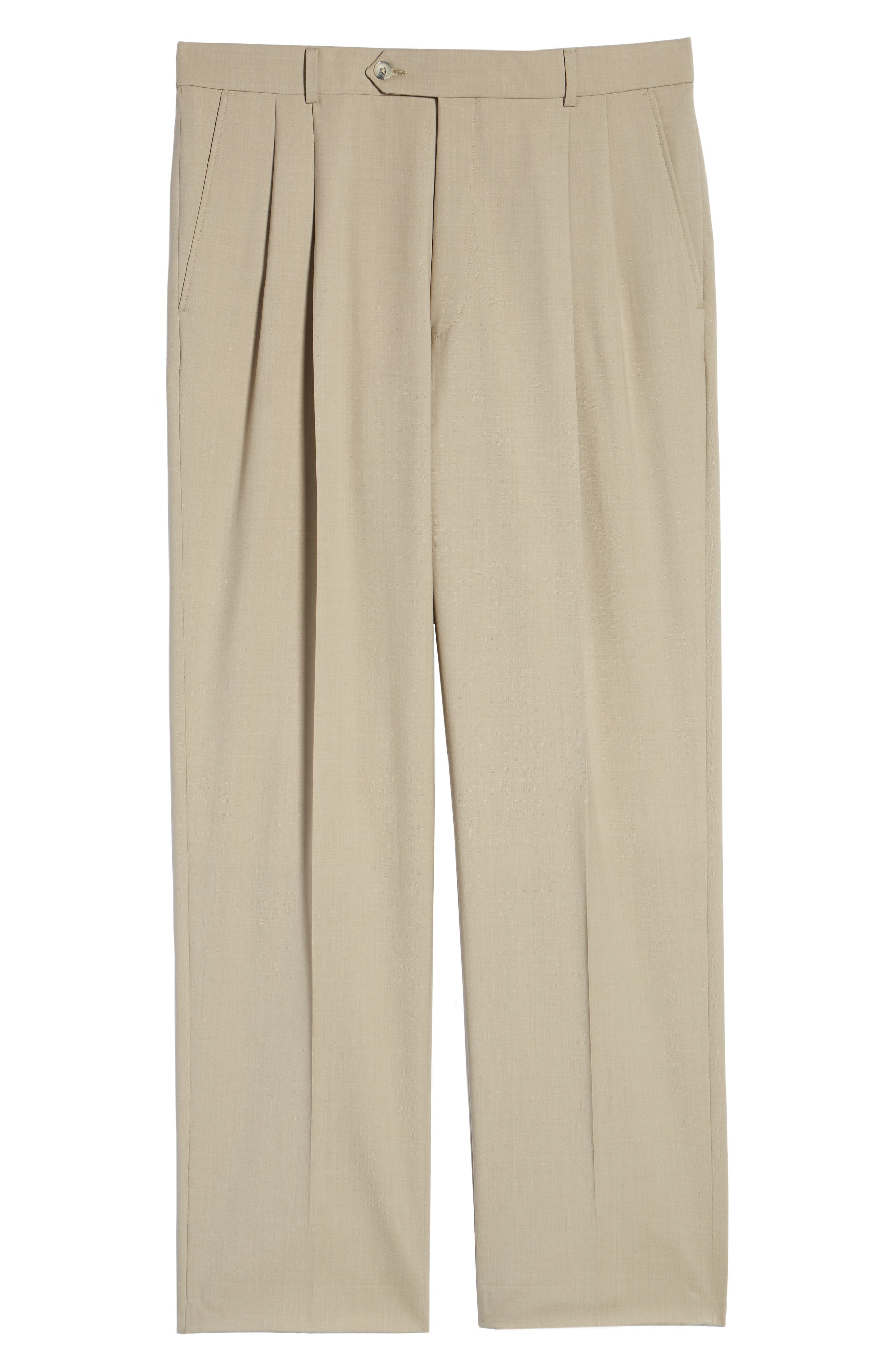 BALLIN, Pleated Solid Wool Trousers, Alternate thumbnail 6, color, OATMEAL