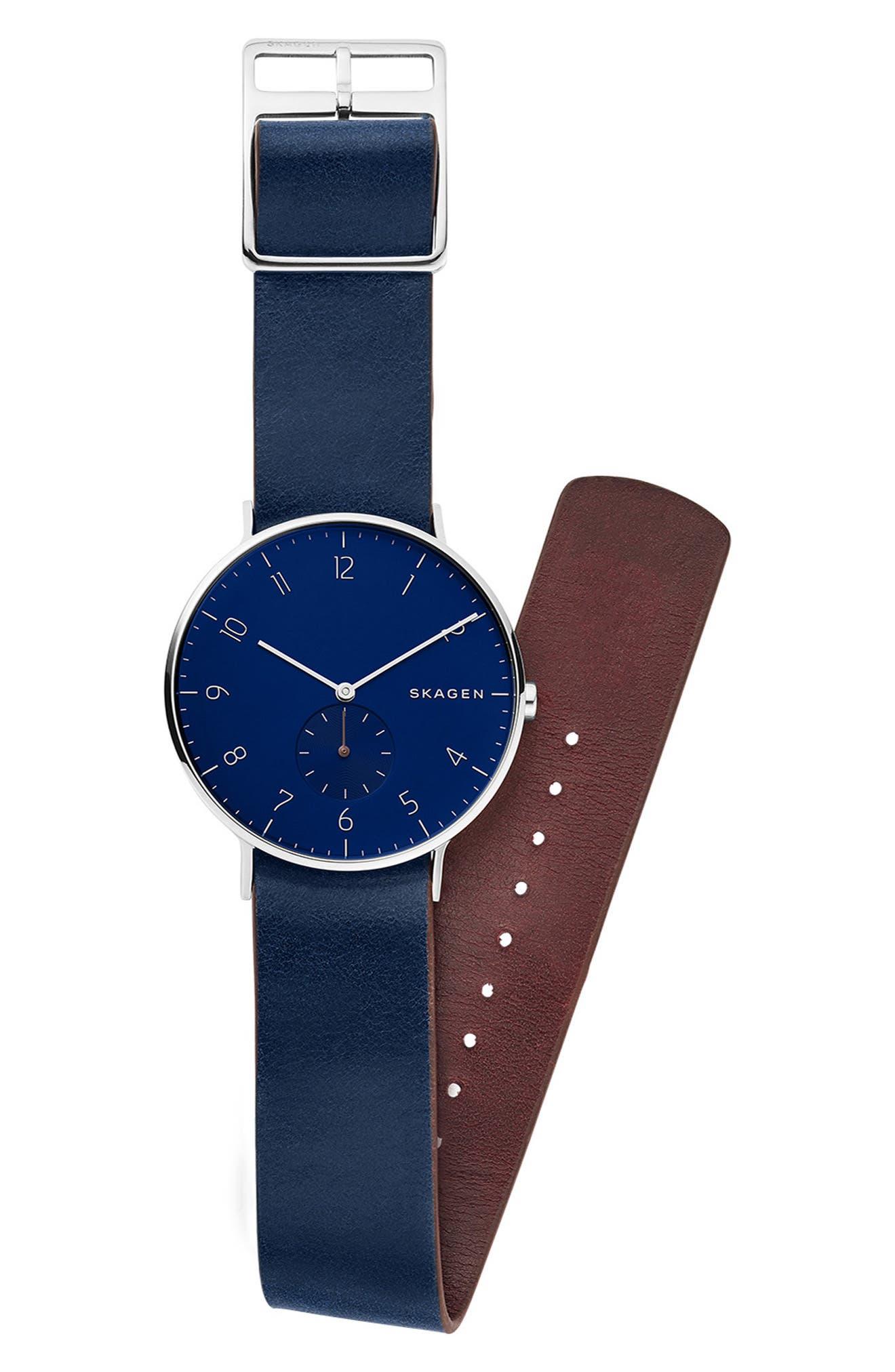 SKAGEN, Aaren Reversible Leather Strap Watch, 40mm, Alternate thumbnail 5, color, BLUE/ SILVER