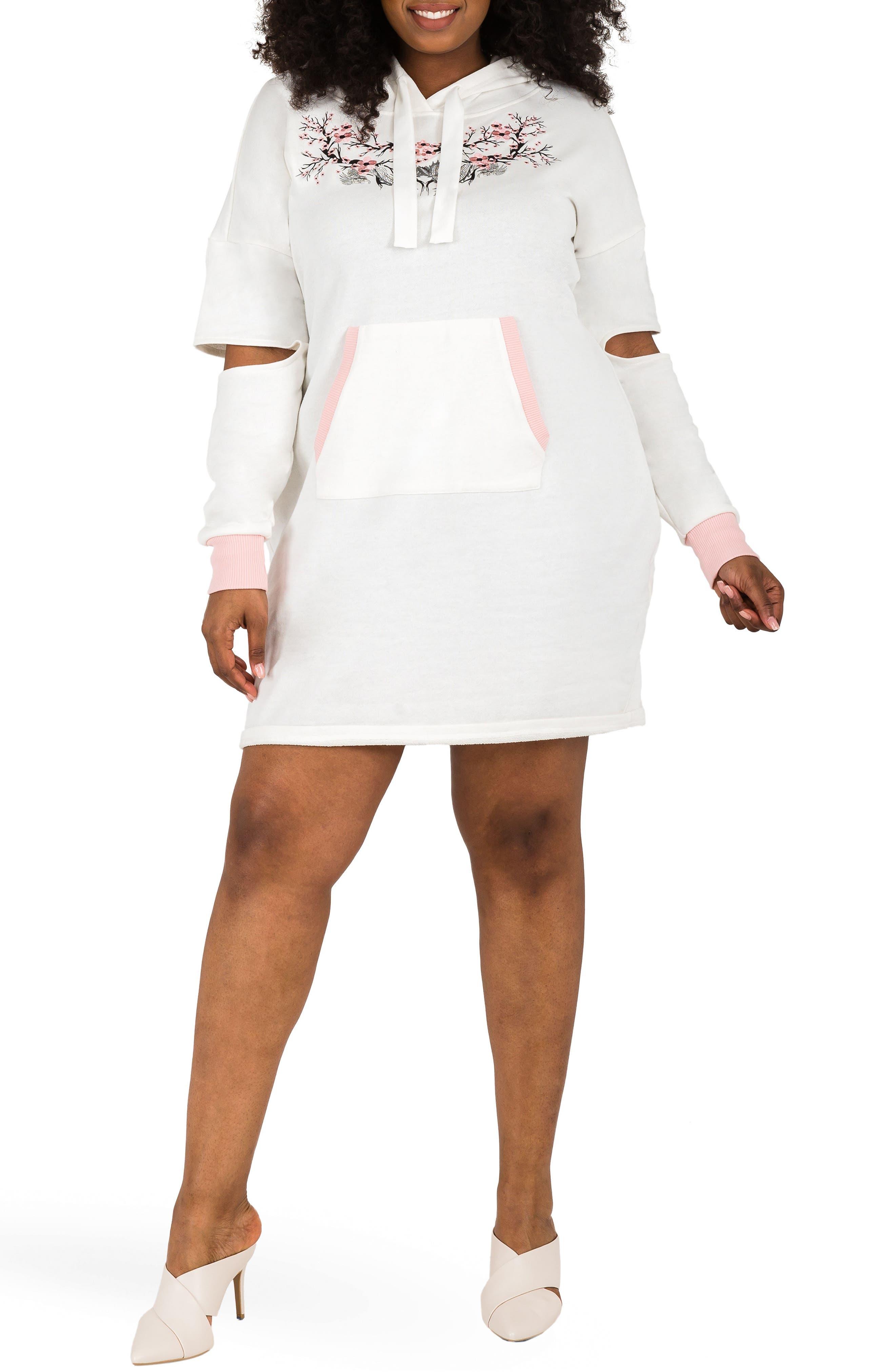 POETIC JUSTICE, Cylene Hoodie Dress, Main thumbnail 1, color, QUARTZ WHITE