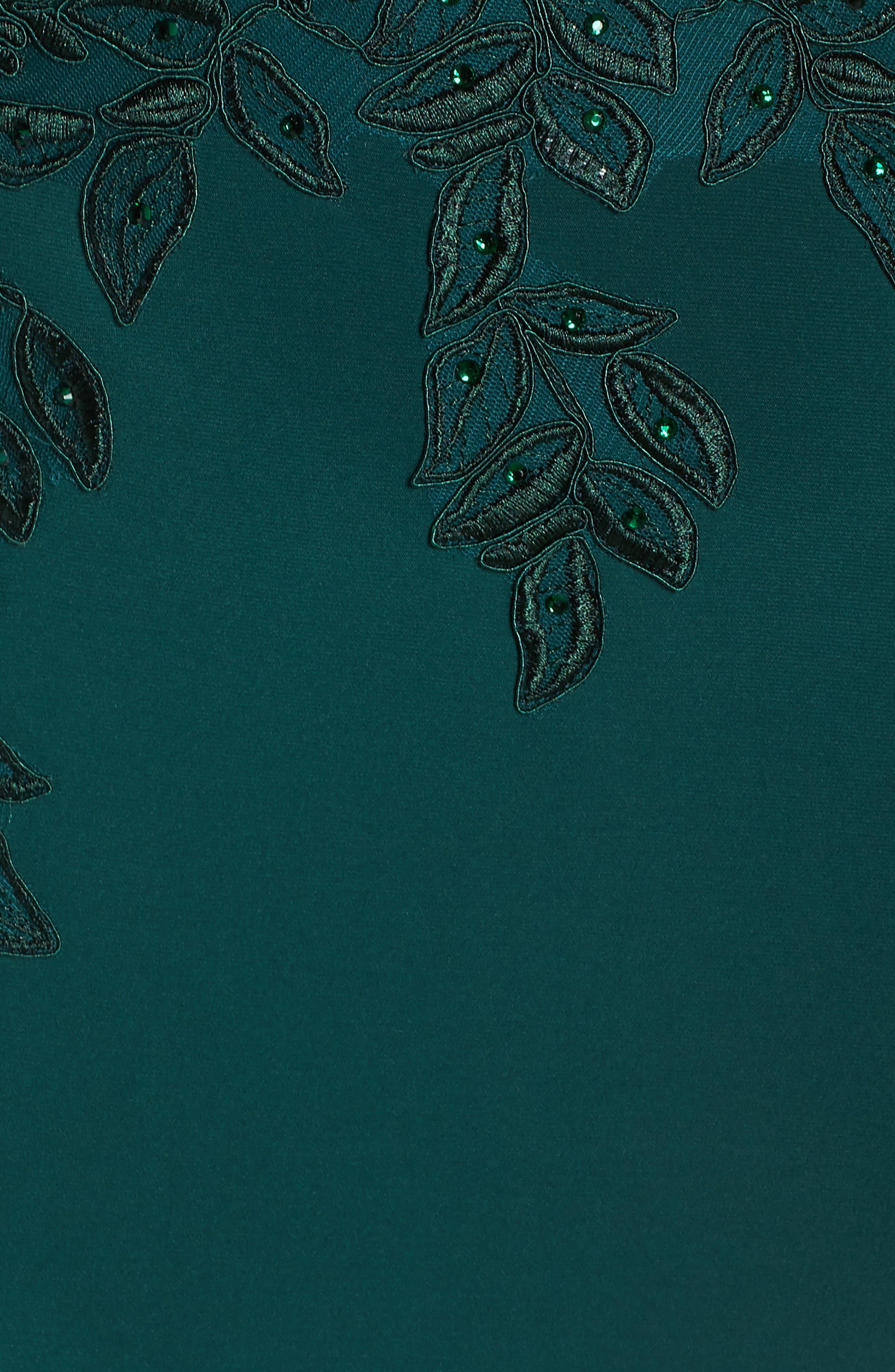 XSCAPE, Embroidered Slit Dress, Alternate thumbnail 6, color, HUNTER