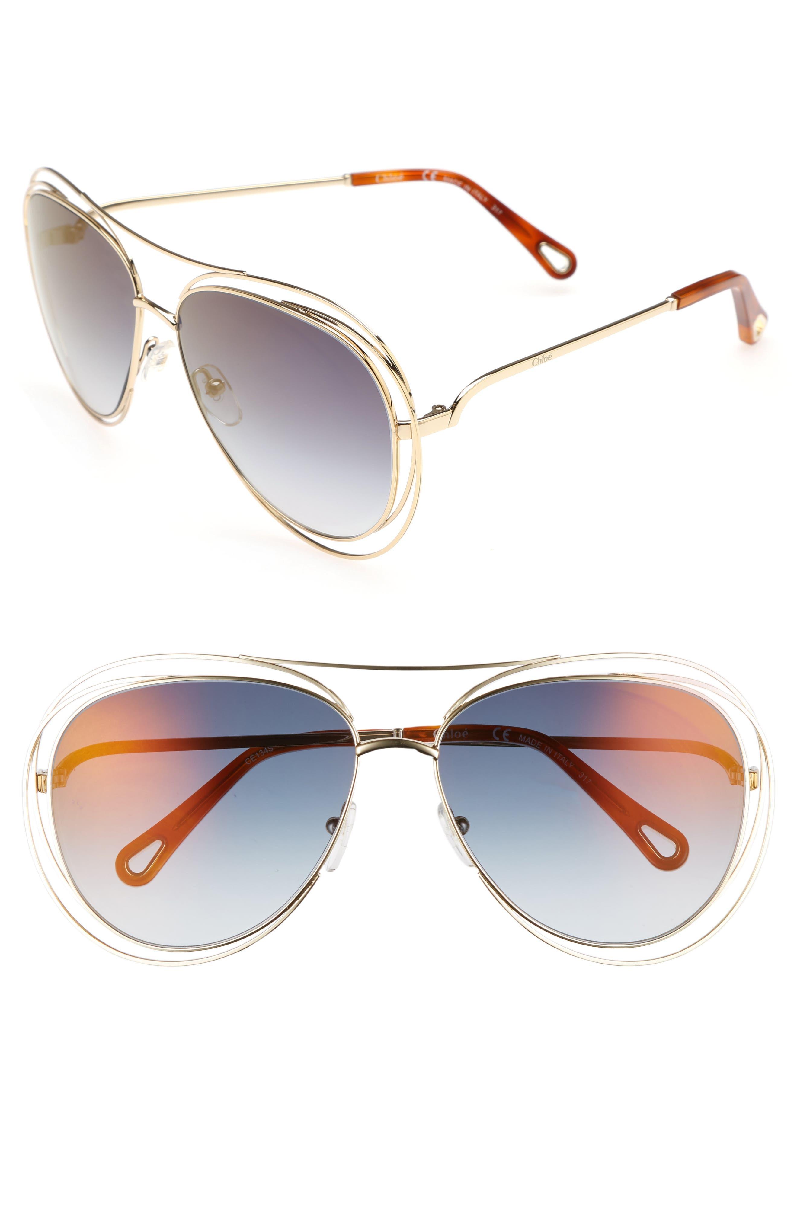 CHLOÉ, 61mm Aviator Sunglasses, Main thumbnail 1, color, GOLD/ HAVANA/ FLASH BLUE