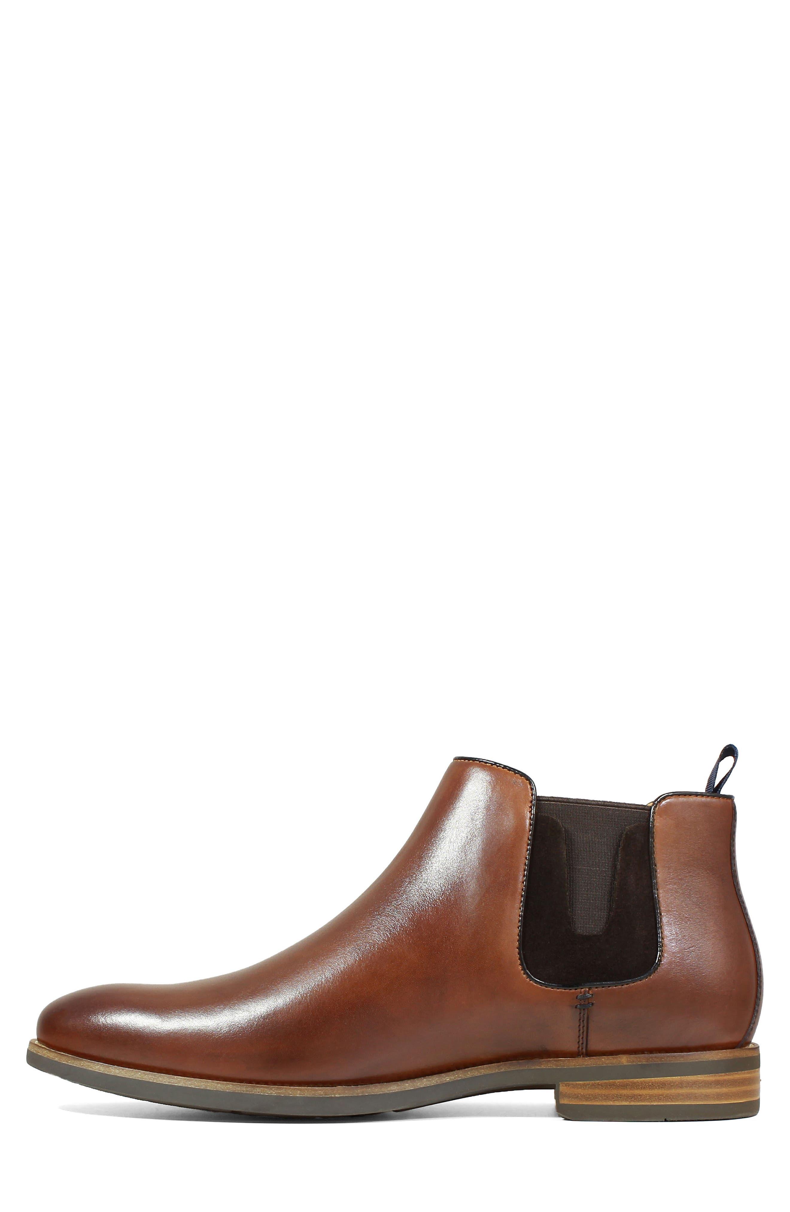 FLORSHEIM, Uptown Plain Toe Mid Chelsea Boot, Alternate thumbnail 8, color, COGNAC LEATHER