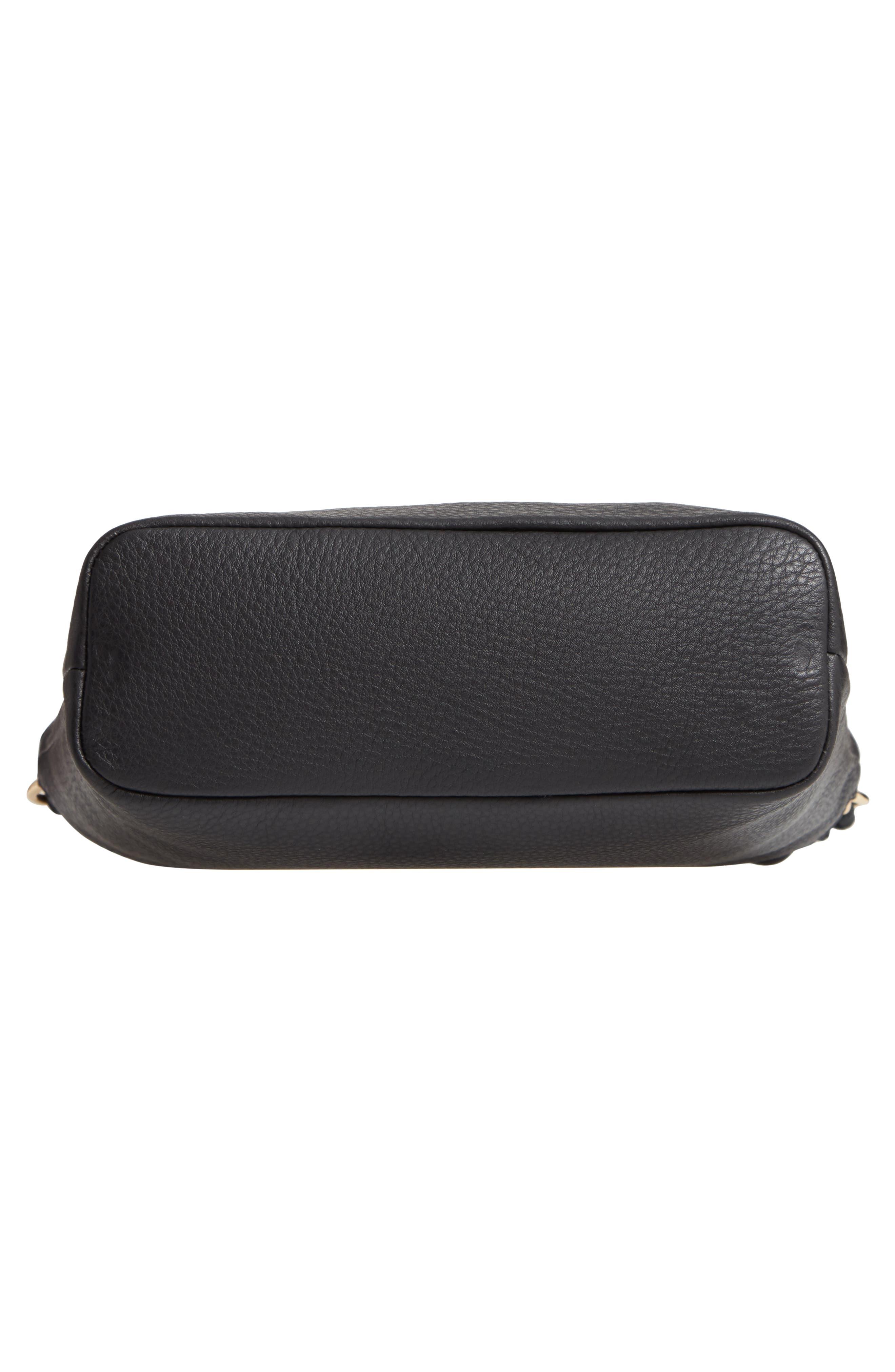 VINCE CAMUTO, Wavy Leather Bucket Bag, Alternate thumbnail 7, color, BLACK