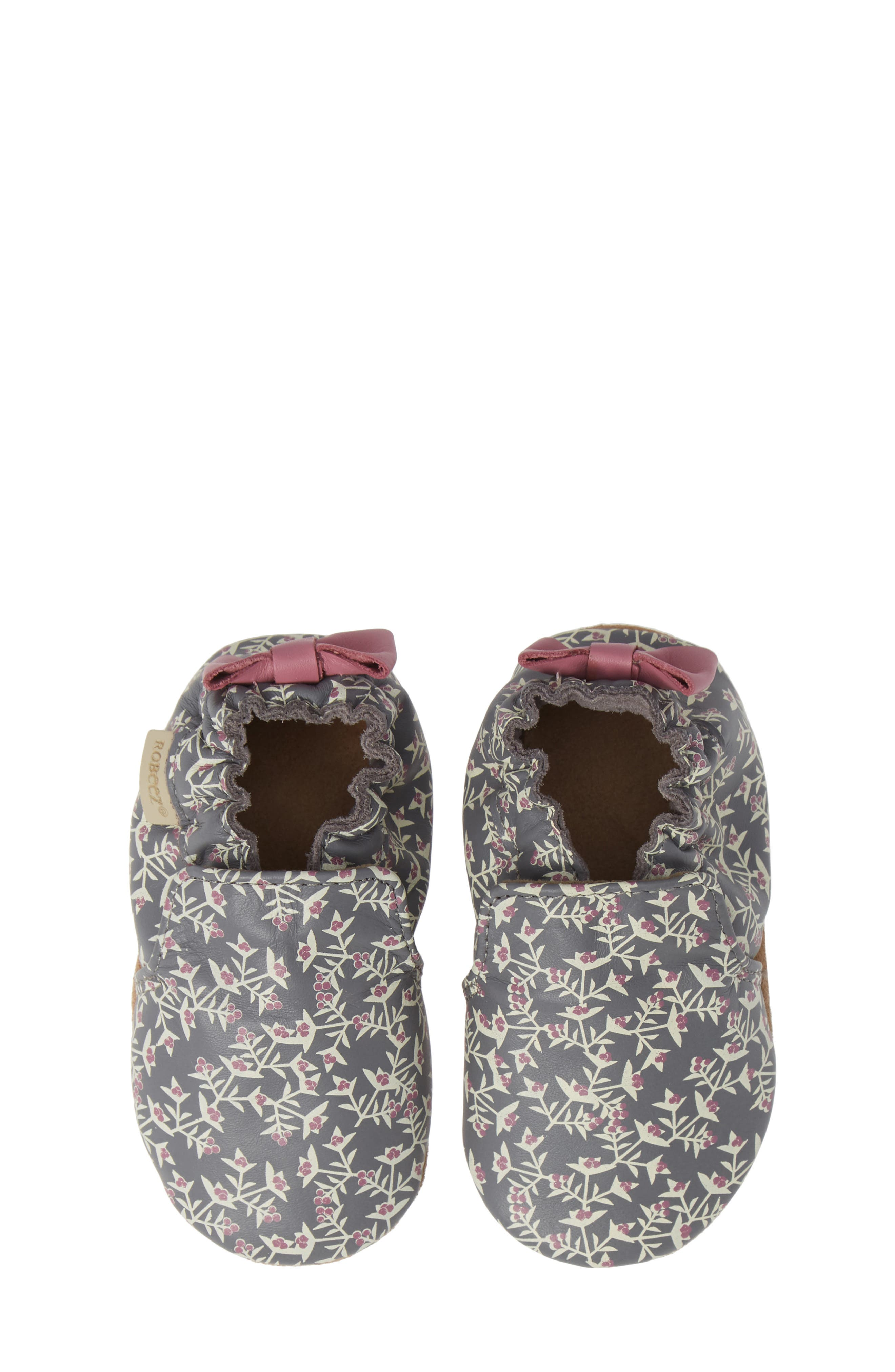 ROBEEZ<SUP>®</SUP>, Berry Beautiful Moccasin Crib Shoe, Main thumbnail 1, color, PATTERN