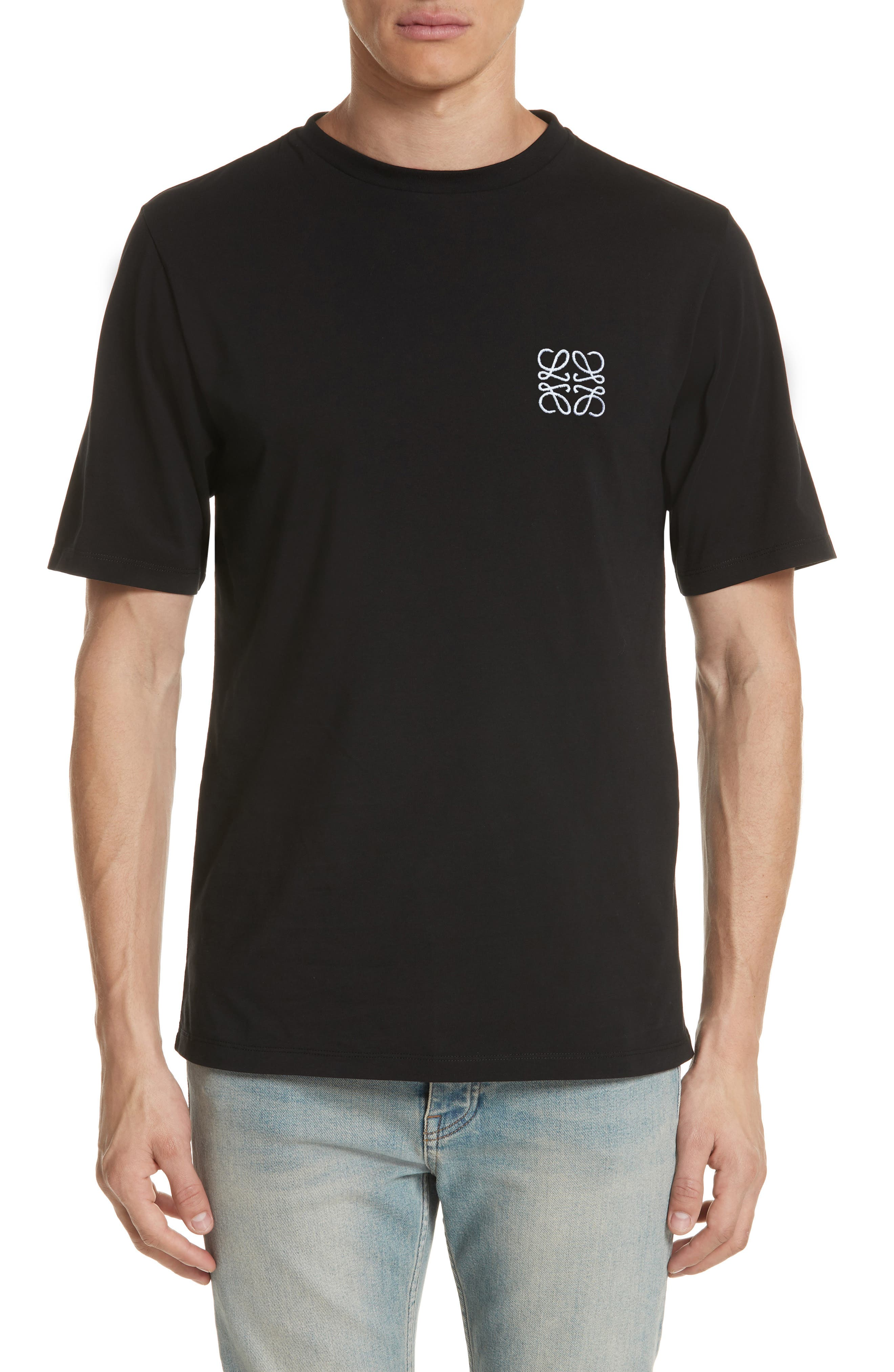 LOEWE, Anagram Logo T-Shirt, Main thumbnail 1, color, BLACK