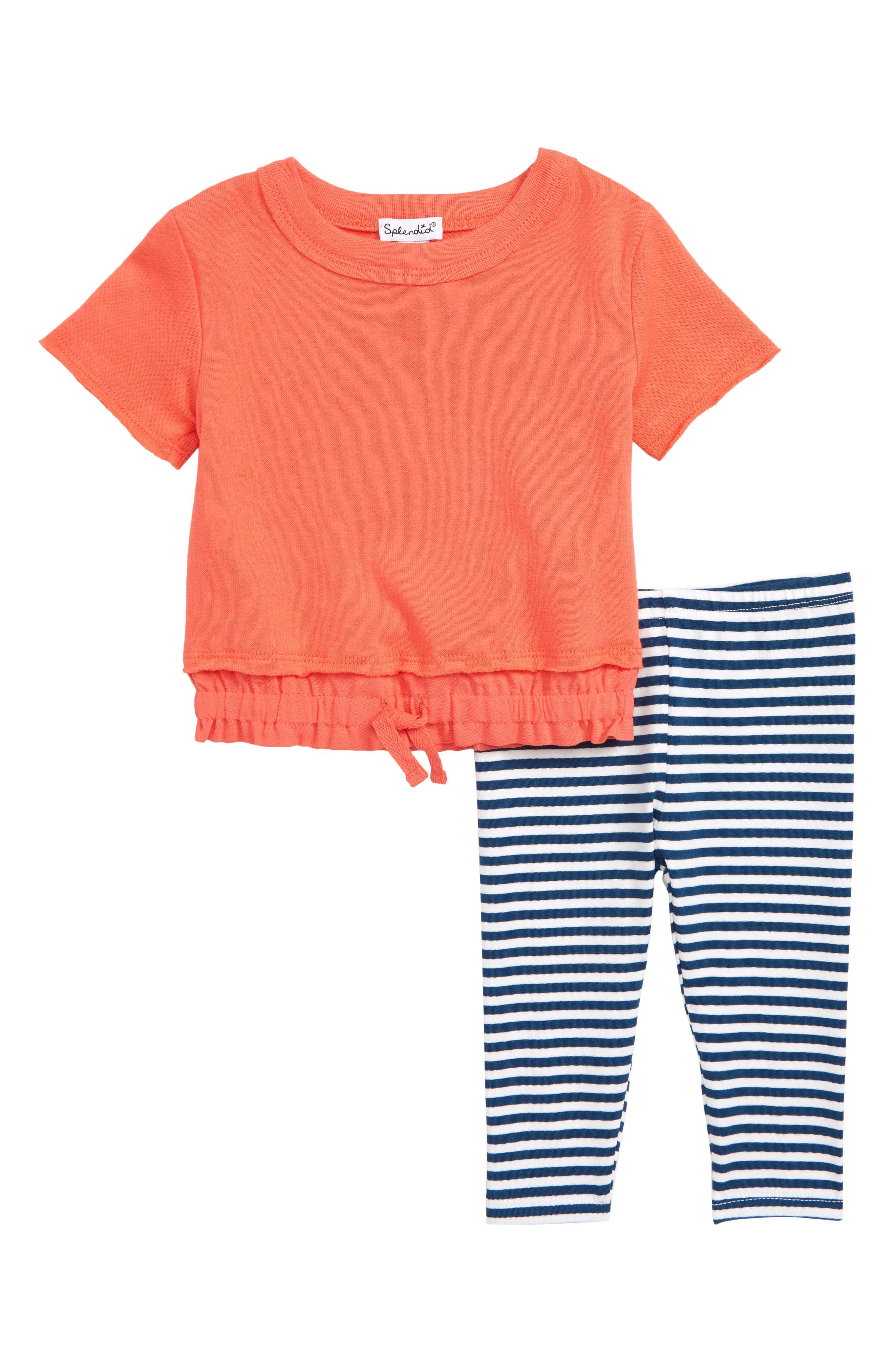 SPLENDID Top & Stripe Pants Set, Main, color, CORAL LIPSTICK