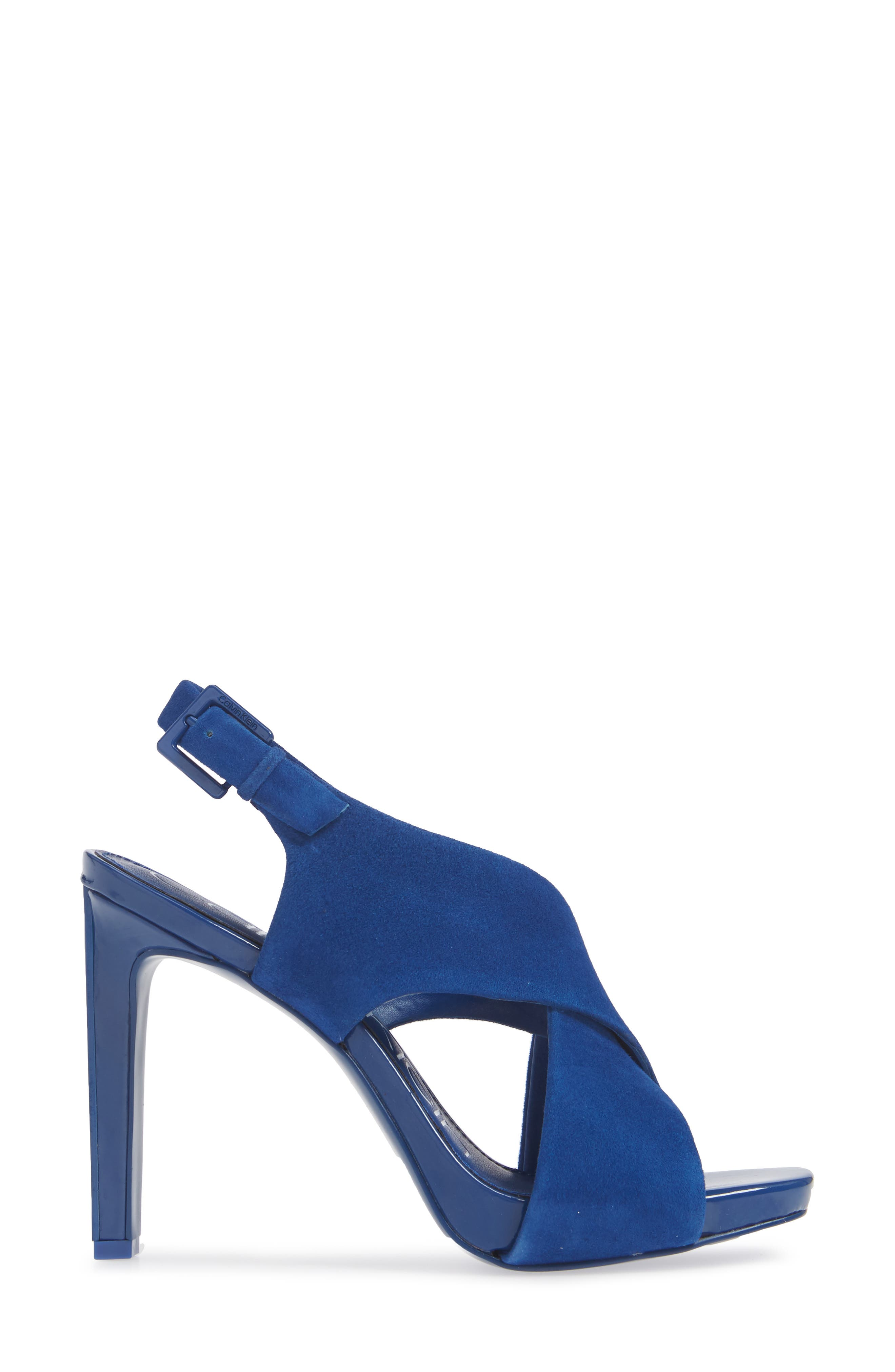 CALVIN KLEIN, Myra Cross Strap Sandal, Alternate thumbnail 3, color, ROYAL BLUE SUEDE