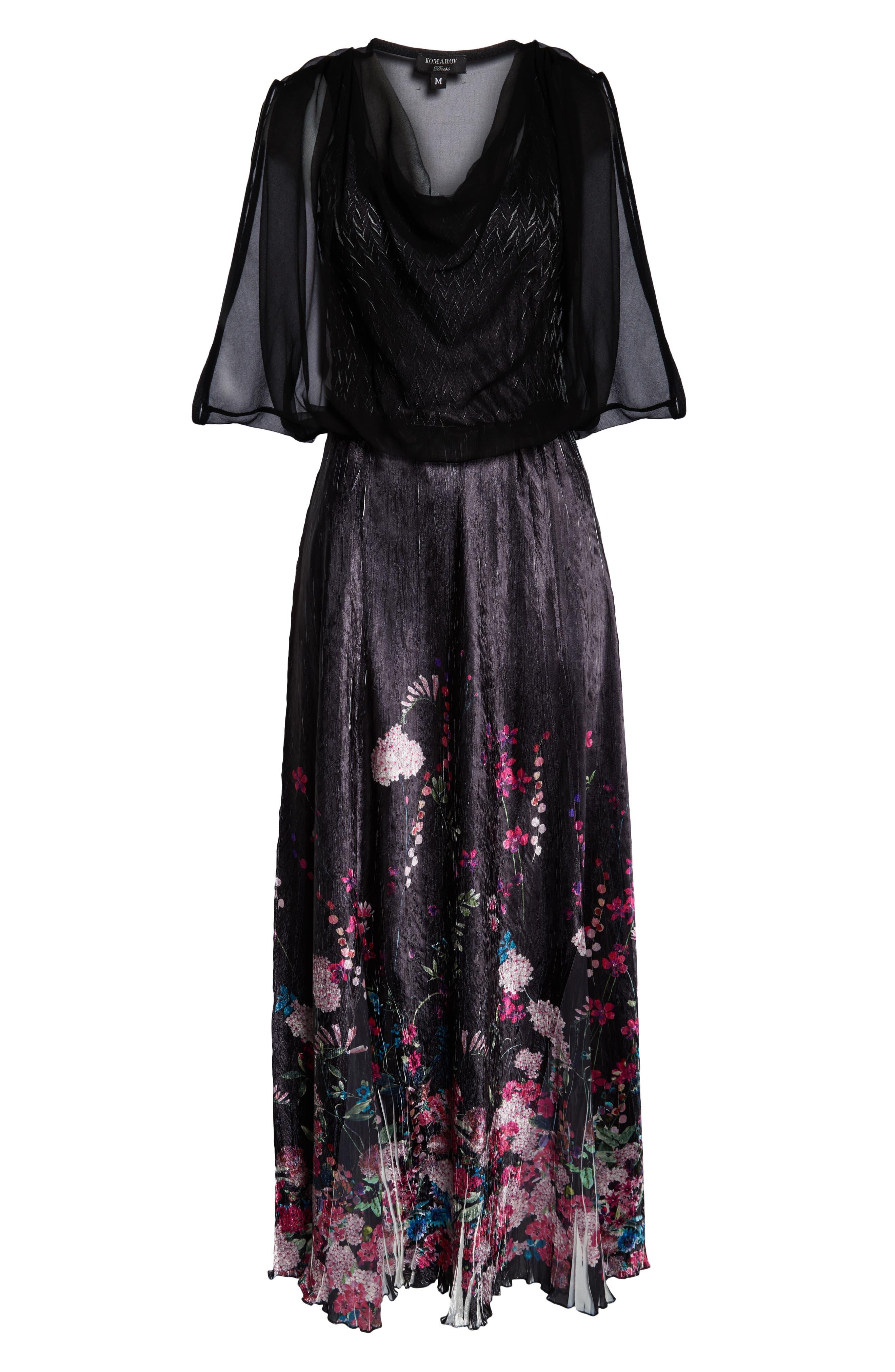 KOMAROV, Chiffon Popover Charmeuse Gown, Alternate thumbnail 5, color, MAGENTA MEDLEY