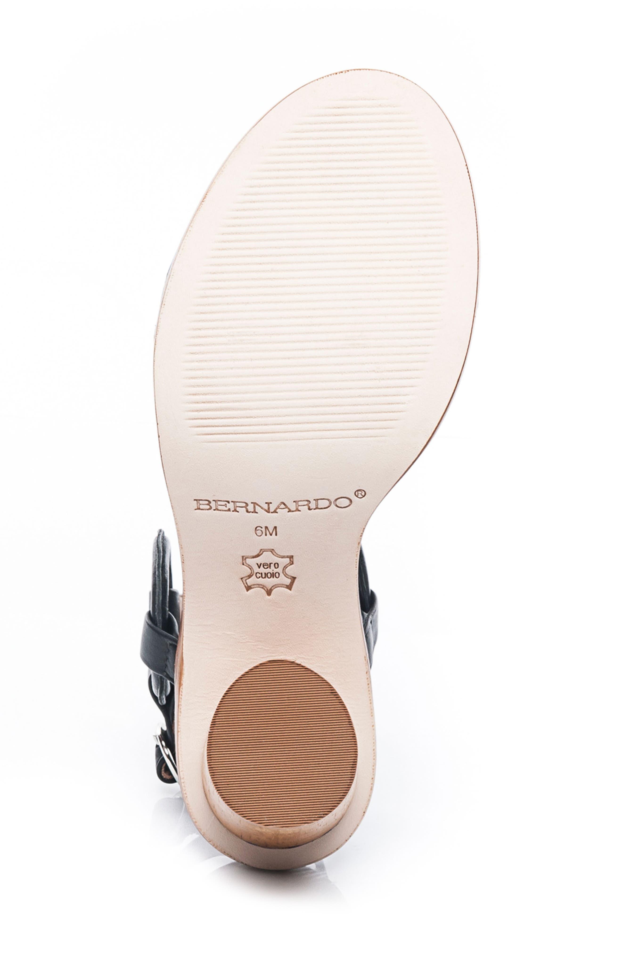 BERNARDO, Harlow Ankle Strap Sandal, Alternate thumbnail 6, color, BLACK LEATHER