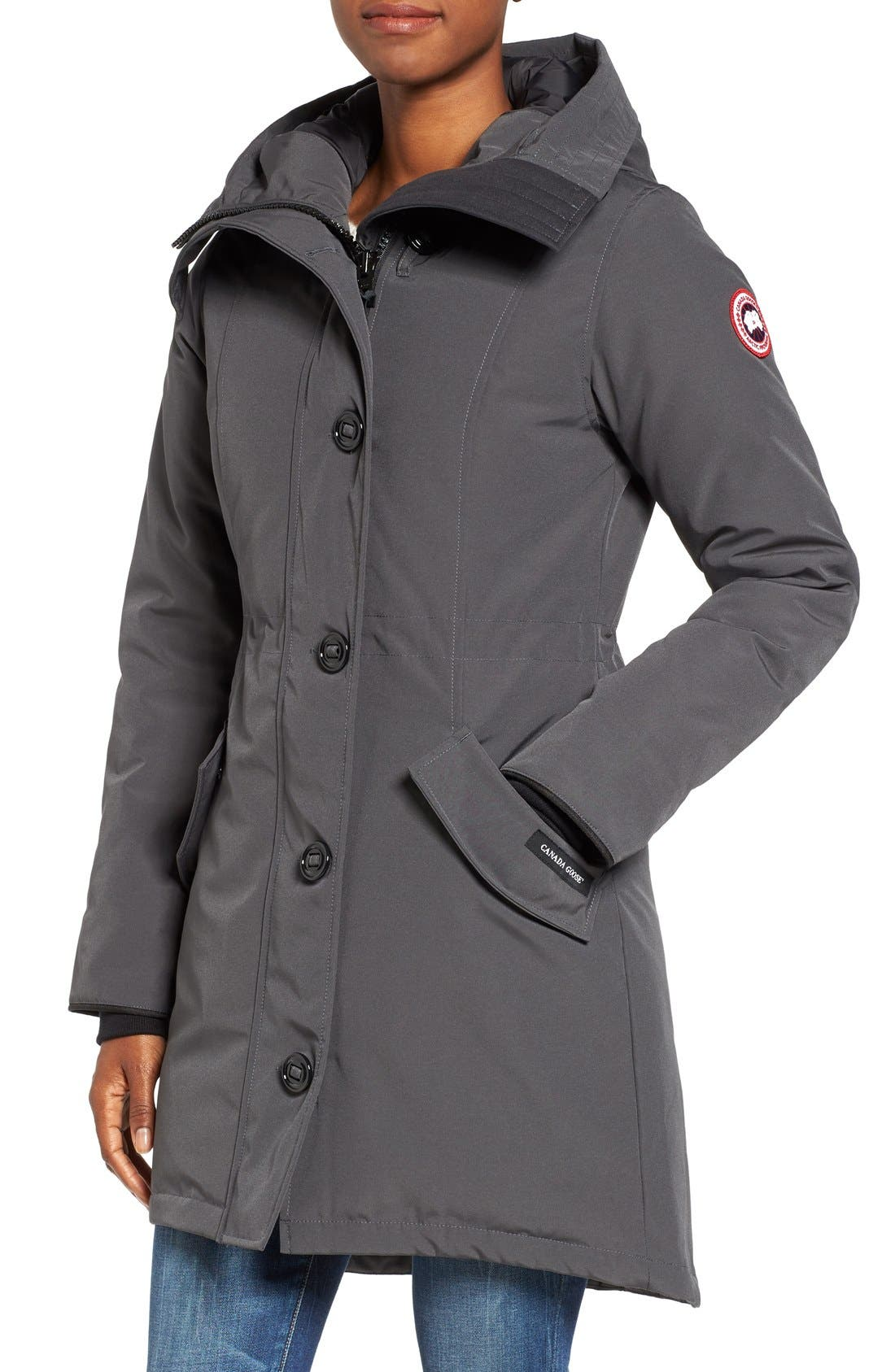 CANADA GOOSE, Rossclair Genuine Coyote Fur Trim Down Parka, Alternate thumbnail 5, color, GRAPHITE