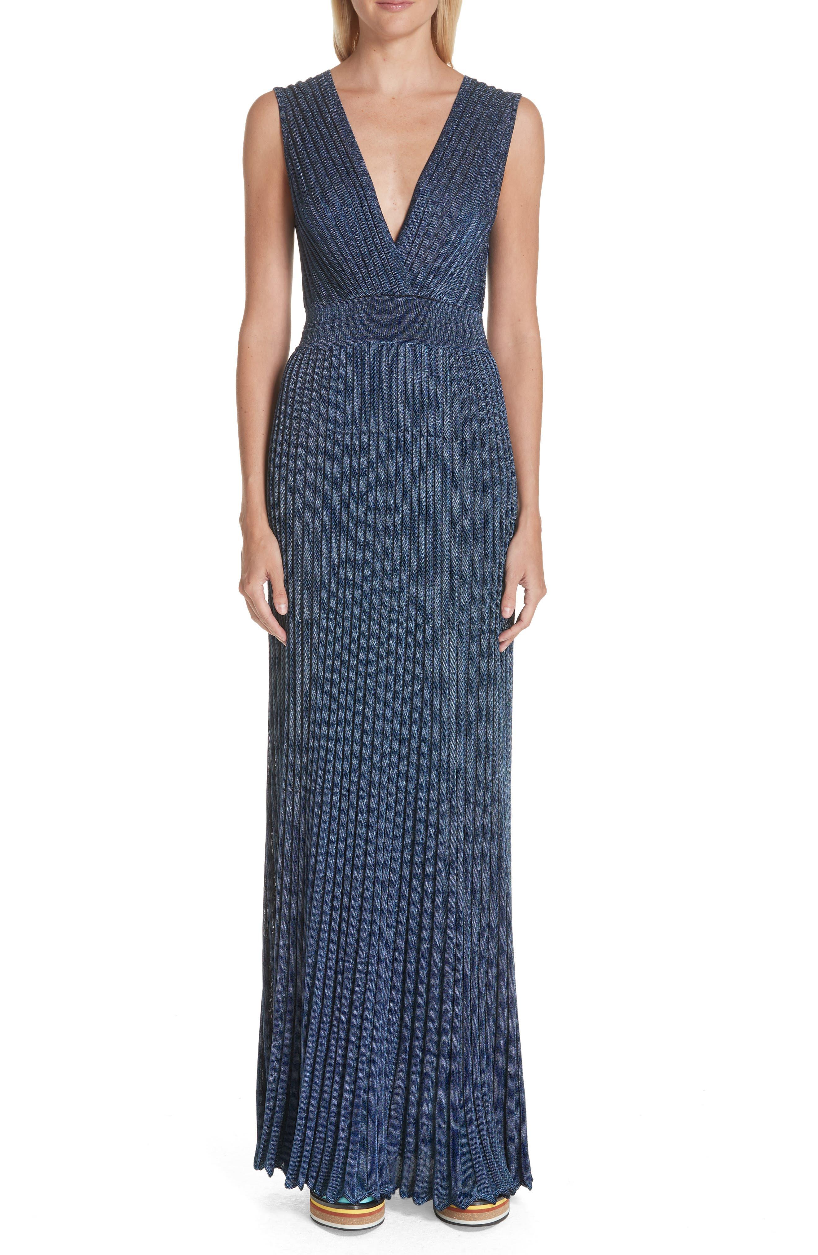 Missoni Metallic Knit Gown, US / 44 IT - Blue