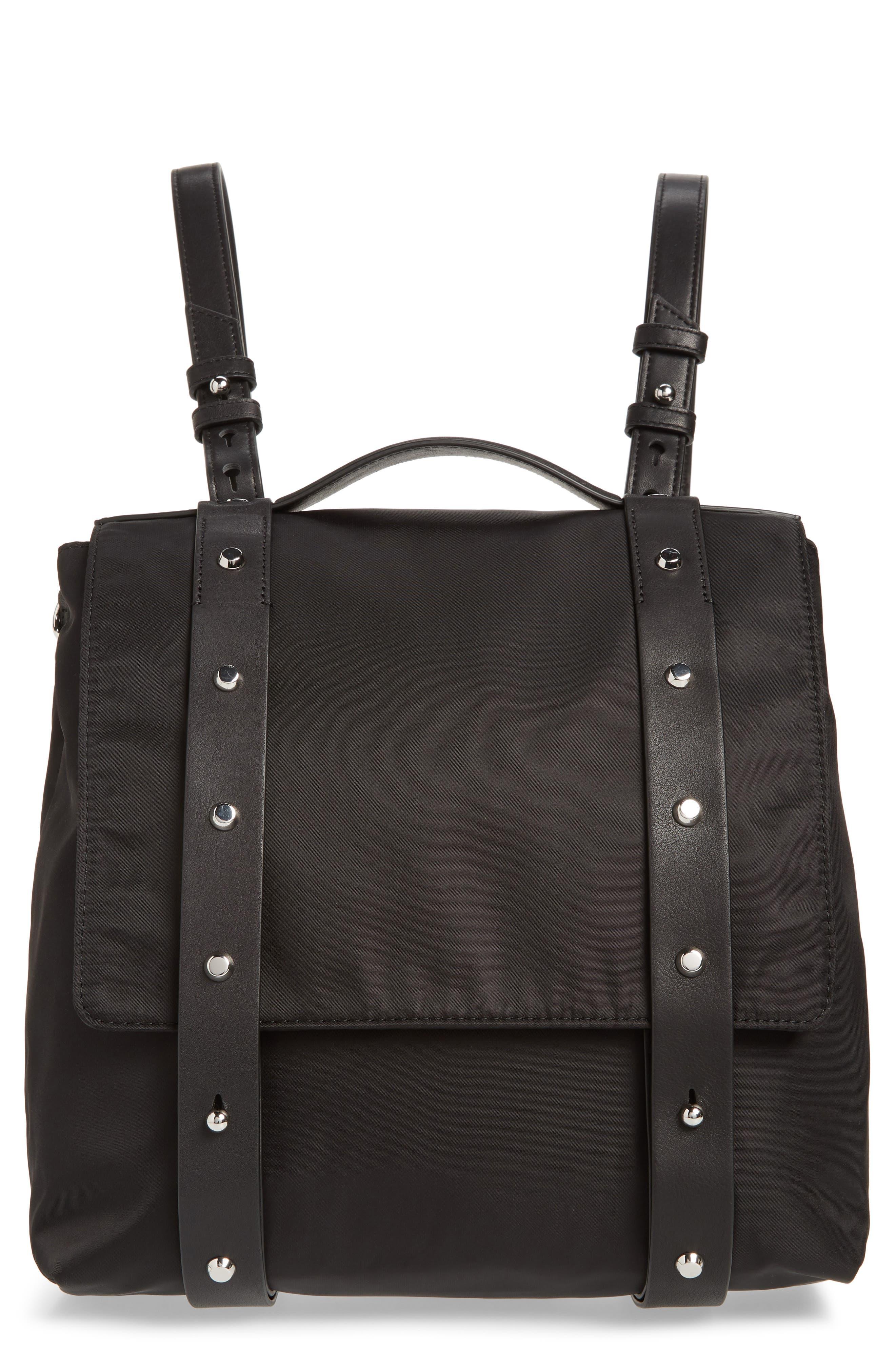 ALLSAINTS Sid Nylon Backpack, Main, color, BLACK