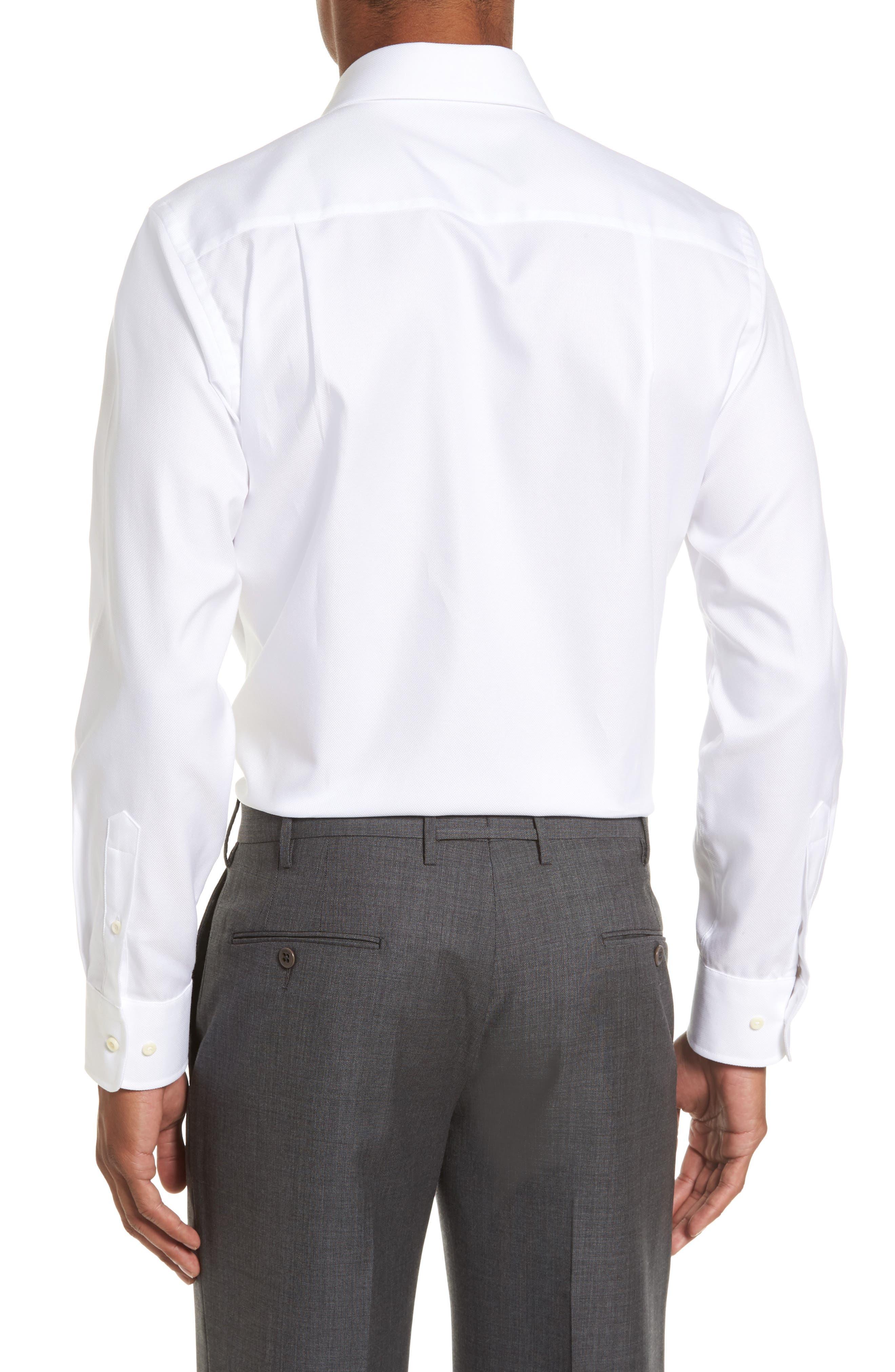 DAVID DONAHUE, Trim Fit Dress Shirt, Alternate thumbnail 2, color, WHITE