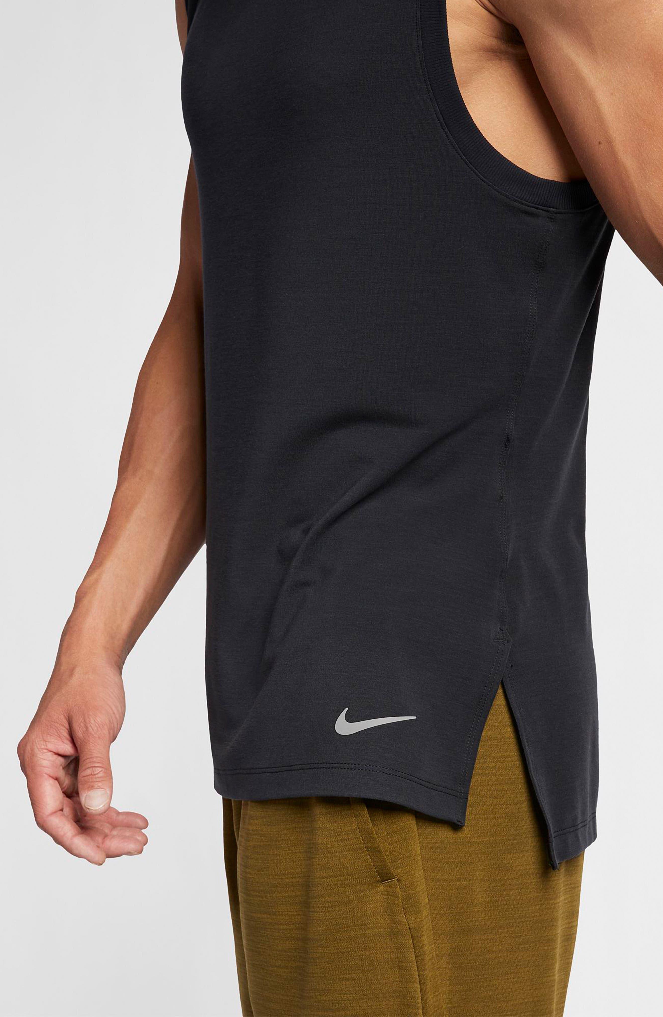 NIKE, Dry Transcent Sleeveless T-Shirt, Alternate thumbnail 7, color, BLACK/ DARK GREY
