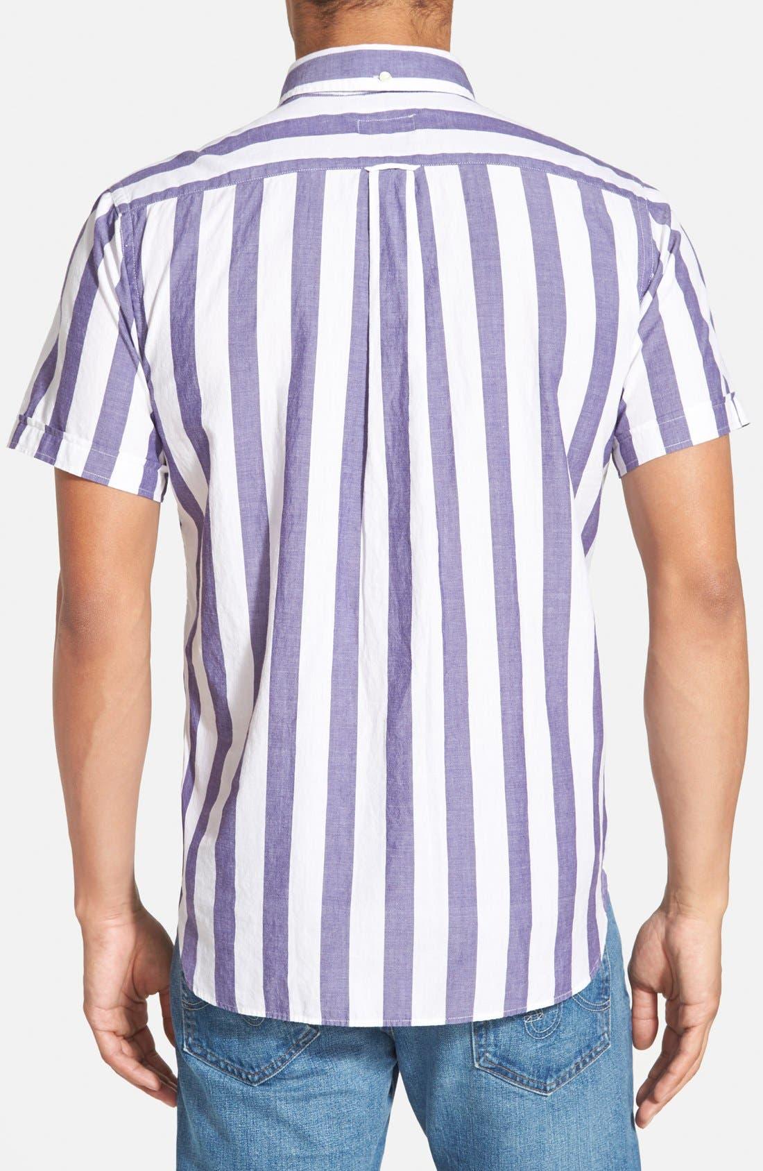 GANT RUGGER, E-Z Fit Madras Stripe Woven Pullover Shirt, Alternate thumbnail 3, color, 436