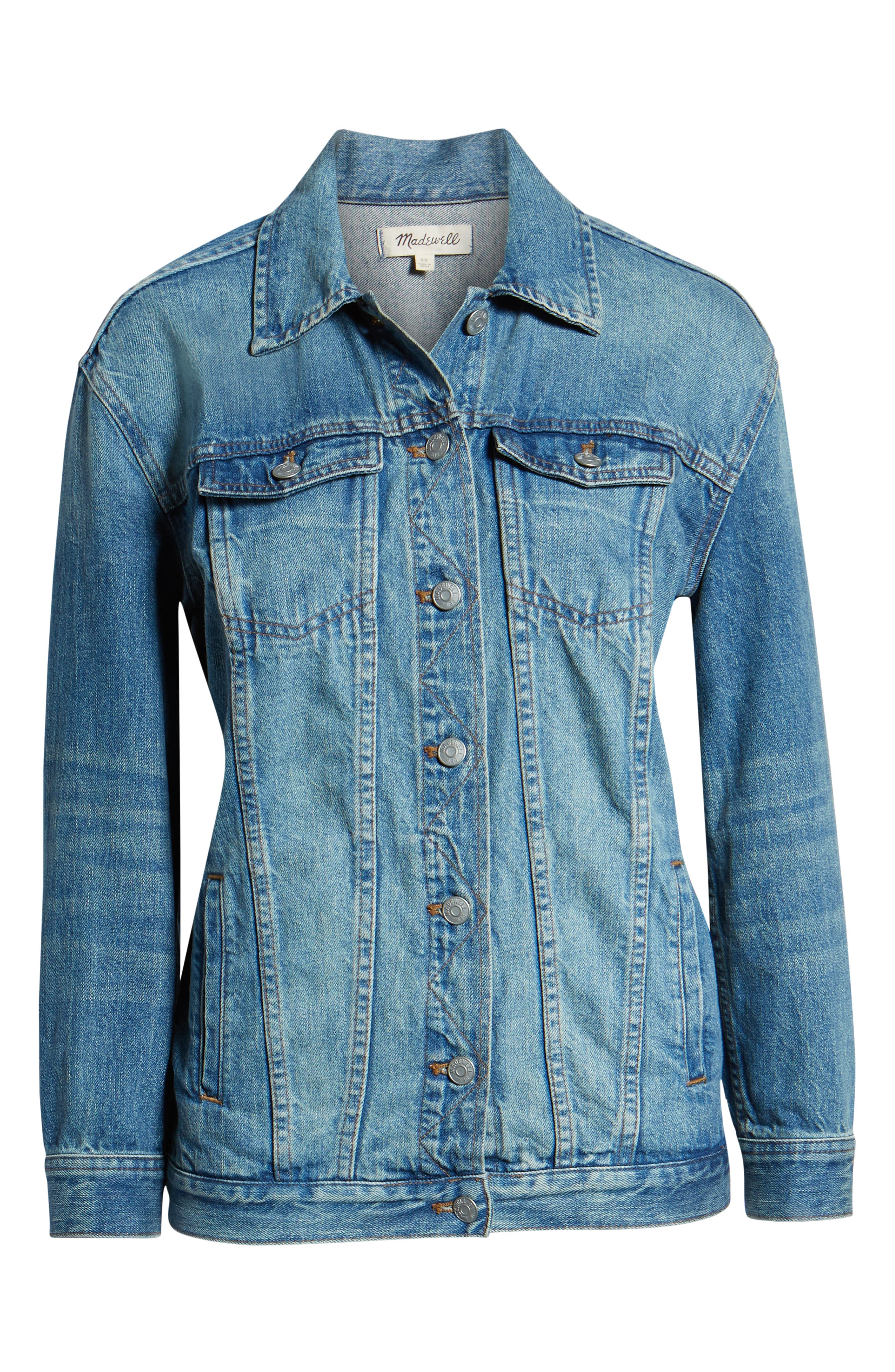 MADEWELL, Oversize Denim Jacket, Alternate thumbnail 5, color, CAPSTONE WASH