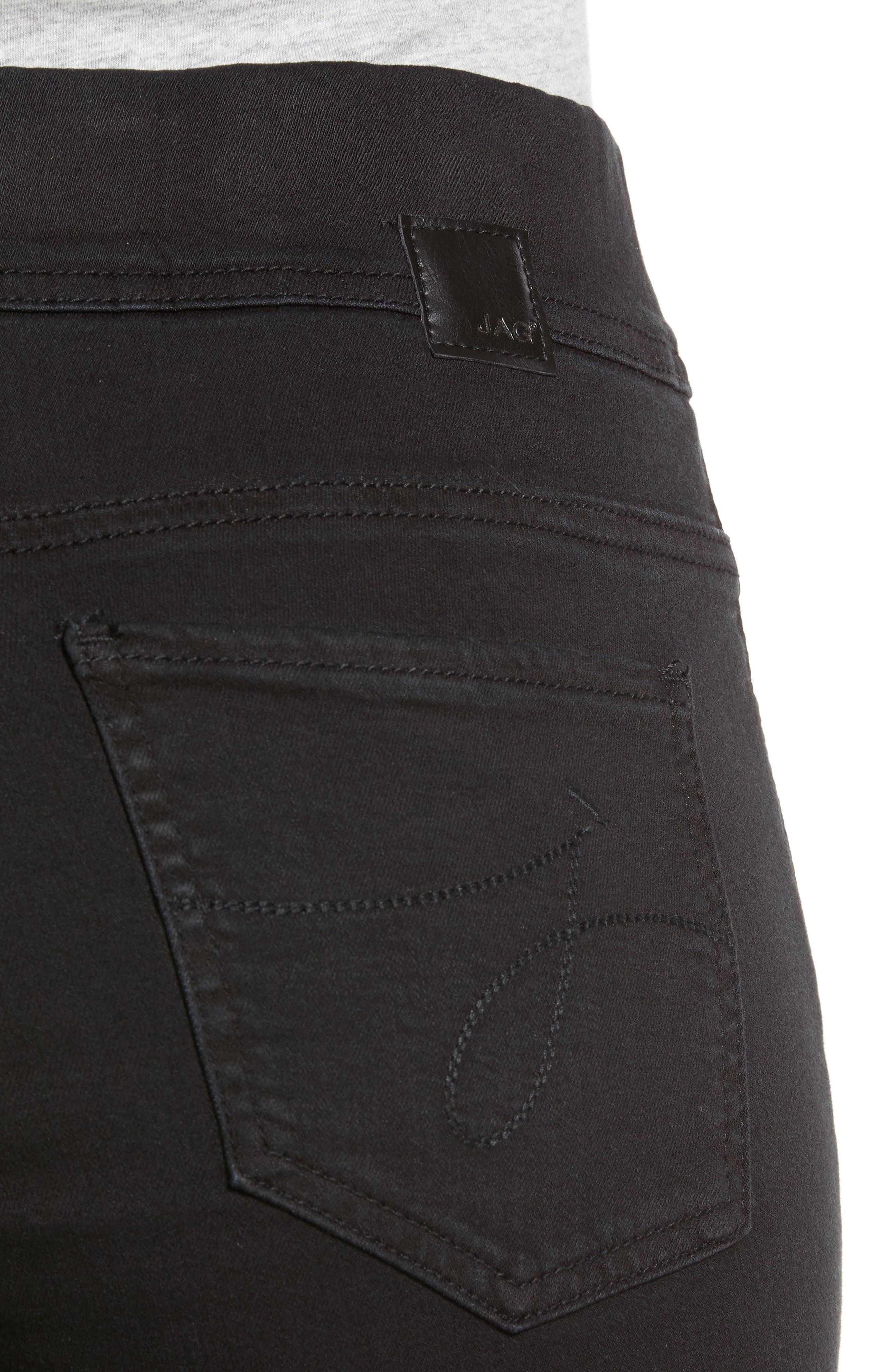 JAG JEANS, Marla Stretch Denim Leggings, Alternate thumbnail 5, color, BLACK