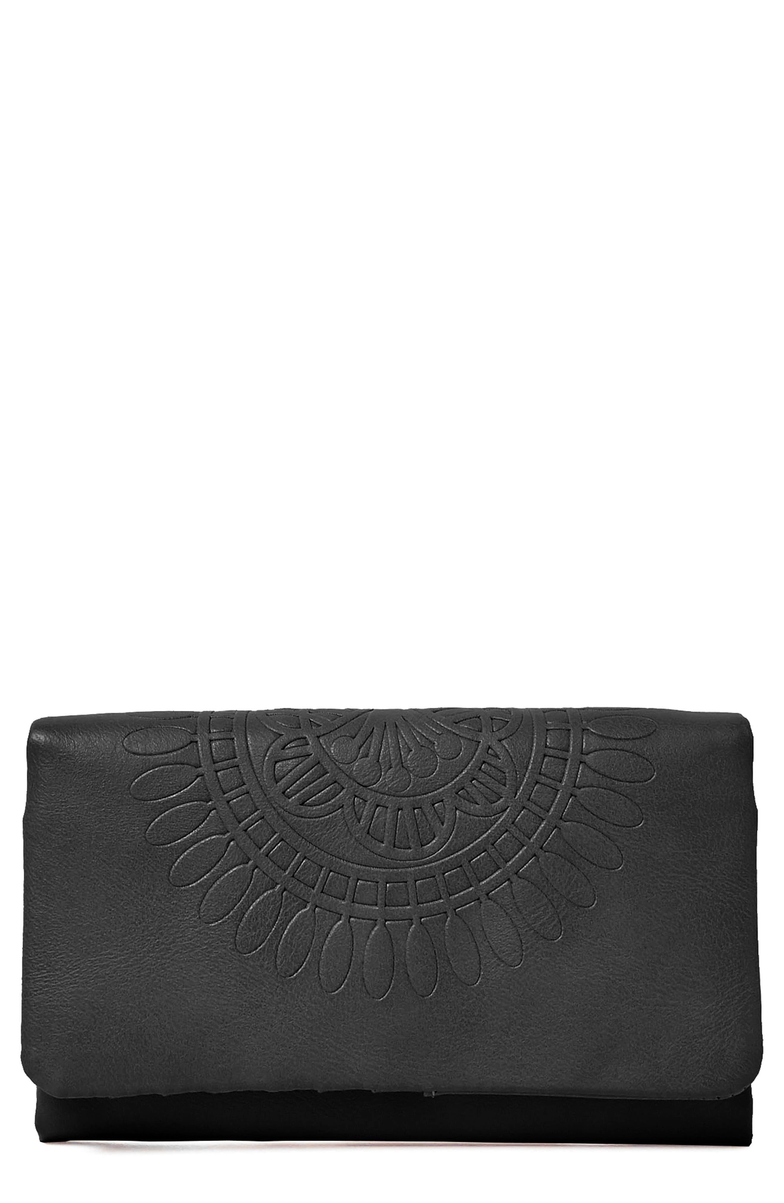 URBAN ORIGINALS, Flower Gypsy Vegan Leather Wallet, Main thumbnail 1, color, 001