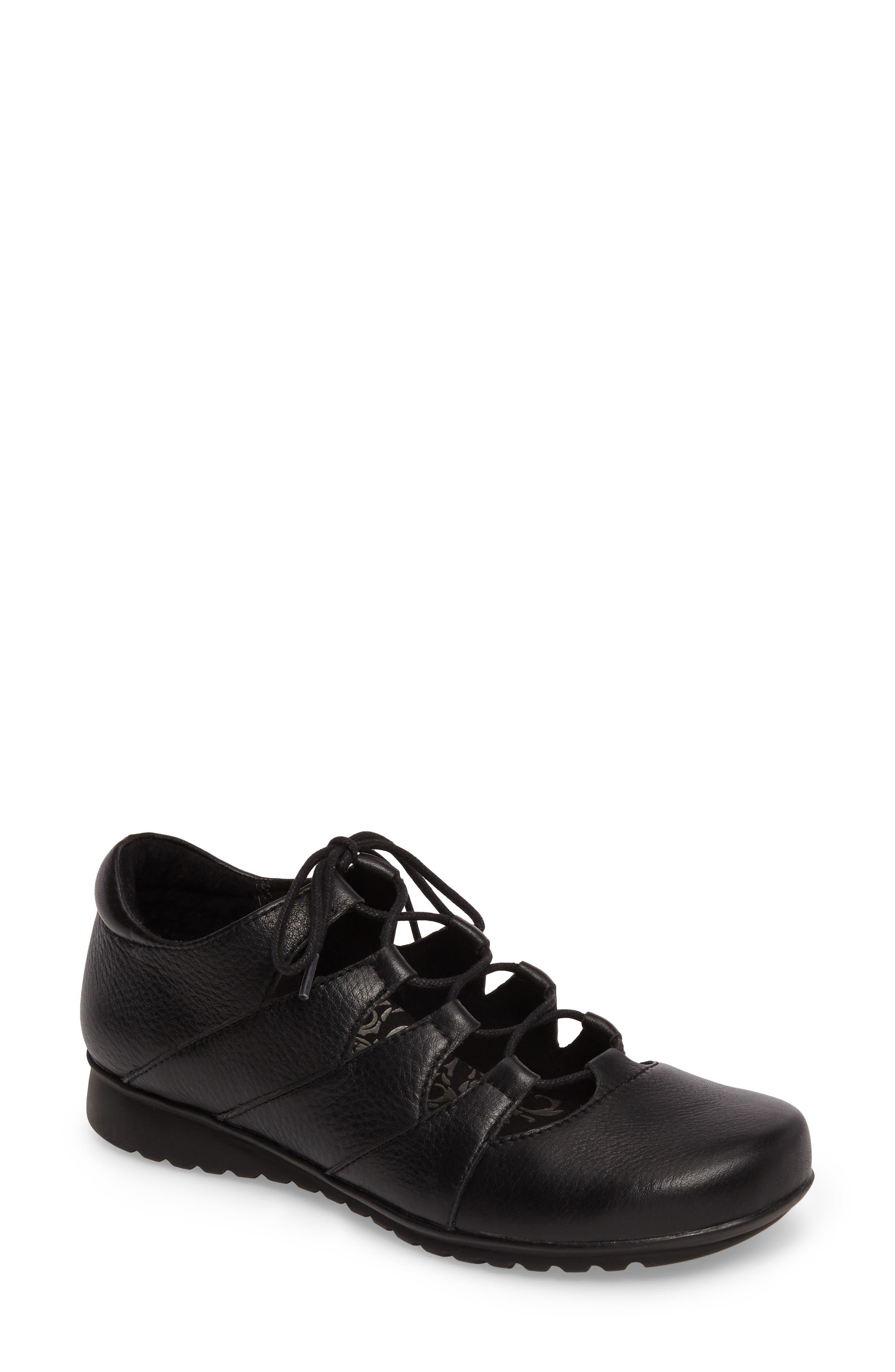 AETREX Sienna Cutout Sneaker, Main, color, BLACK LEATHER/ BLACK
