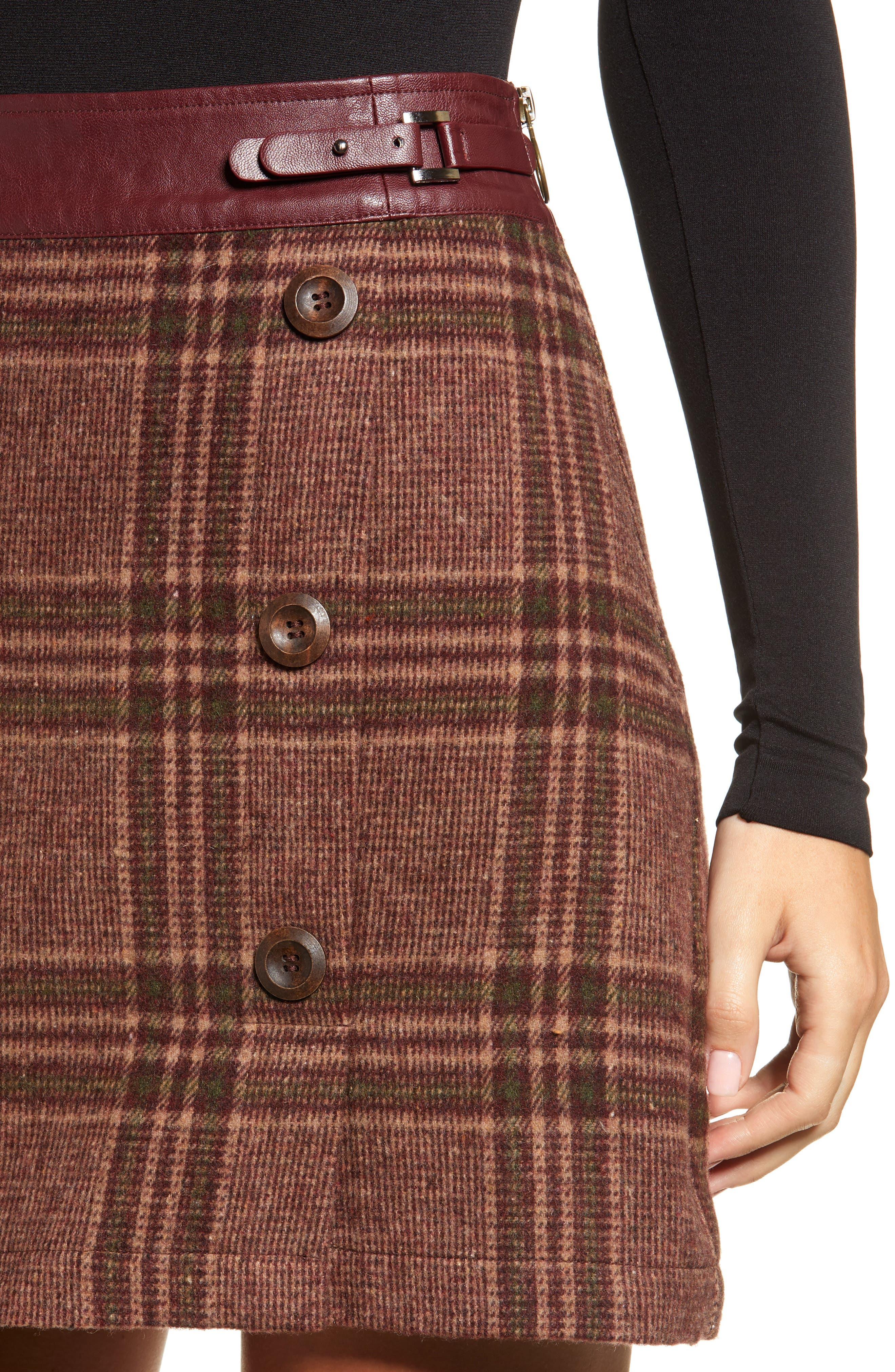 MOON RIVER, Plaid Miniskirt, Alternate thumbnail 4, color, 200