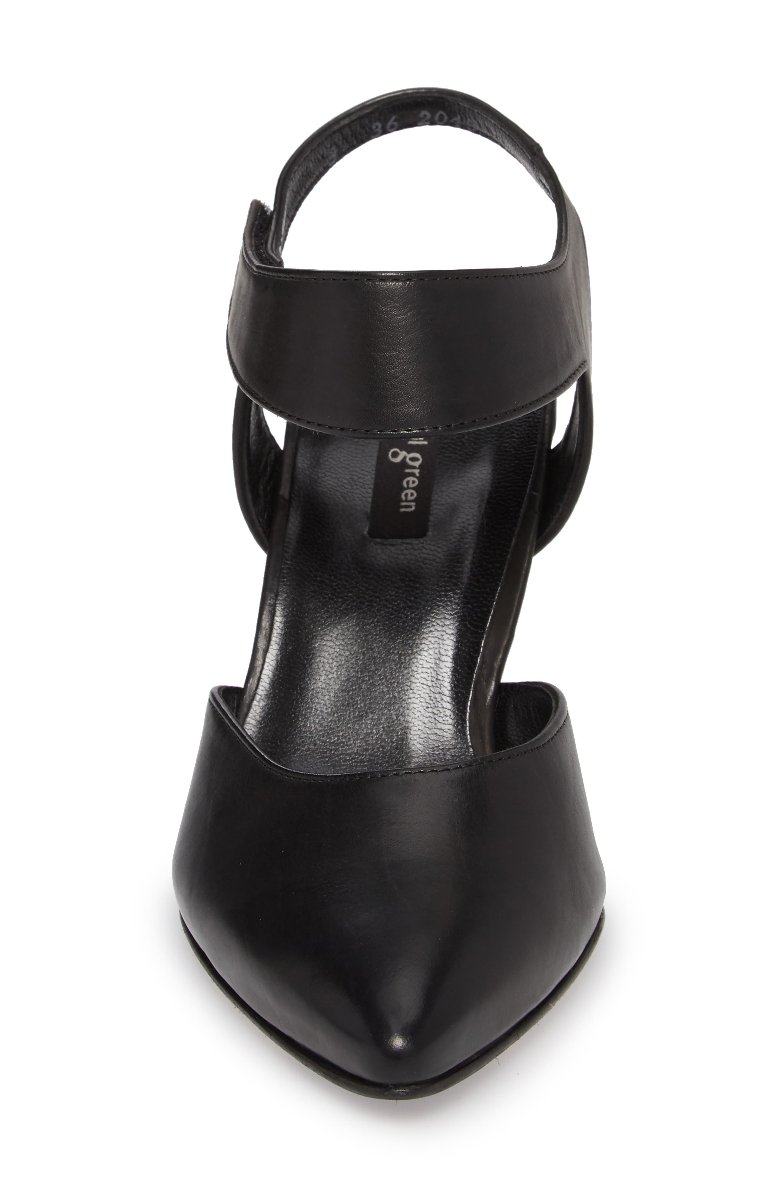 PAUL GREEN, Nicolette Pointy Toe Pump, Alternate thumbnail 4, color, BLACK LEATHER