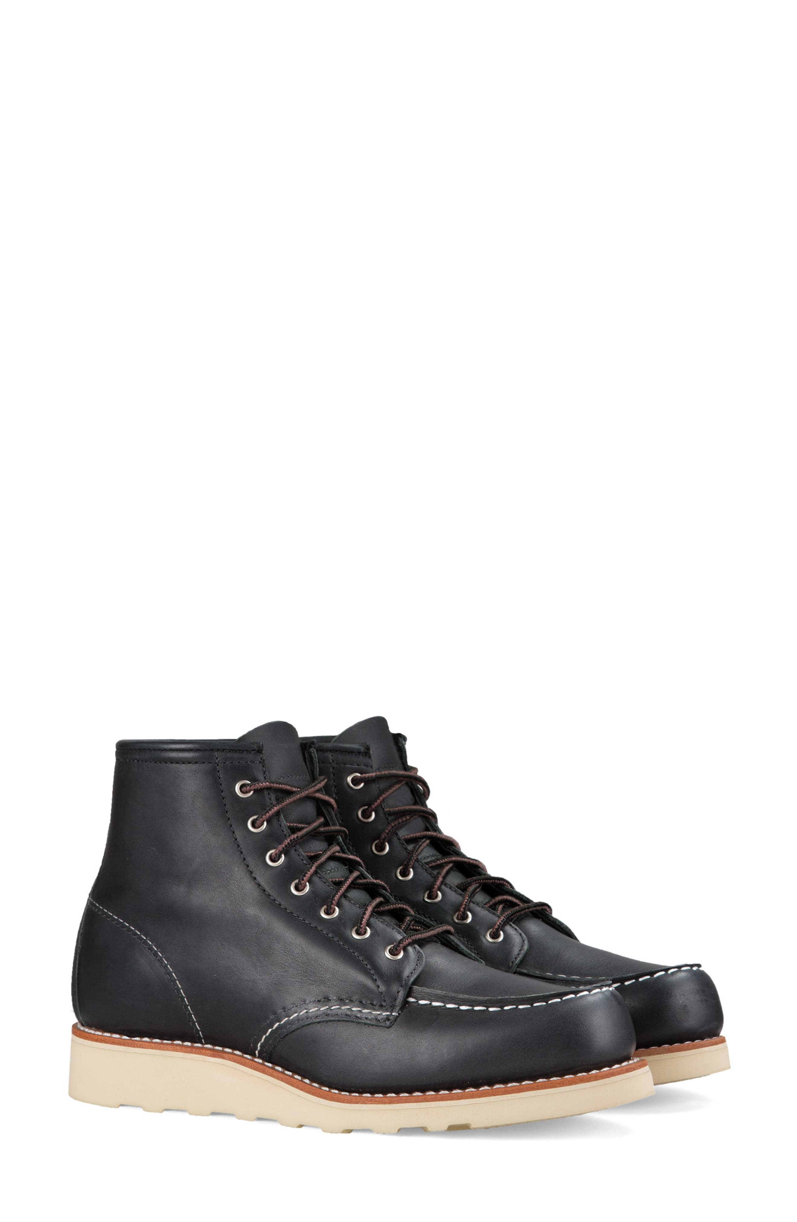 RED WING, 6-Inch Moc Boot, Main thumbnail 1, color, BLACK BOUNDARY LEATHER