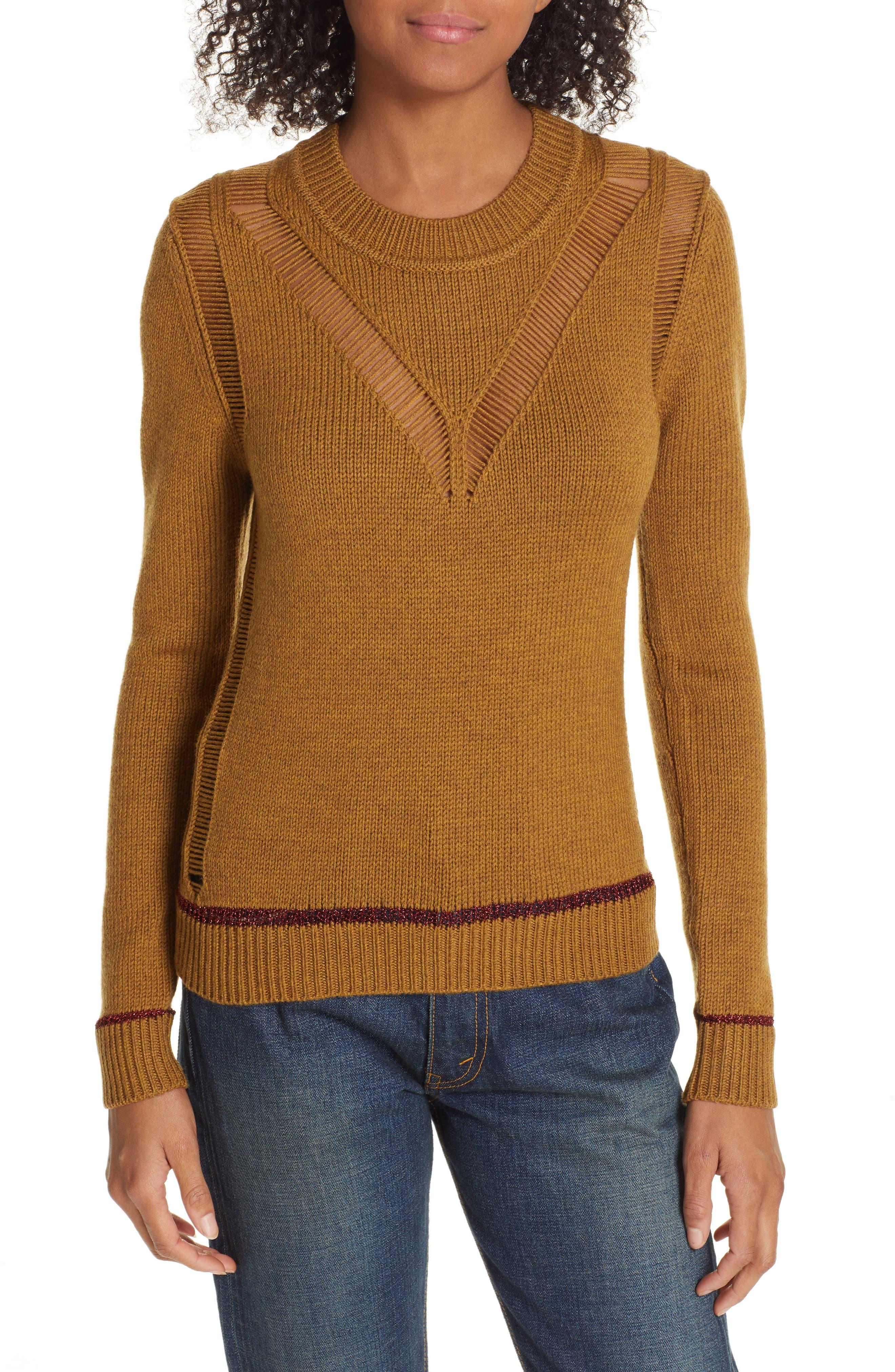 See By Chloe Ladder Stitch Wool Sweater, Beige