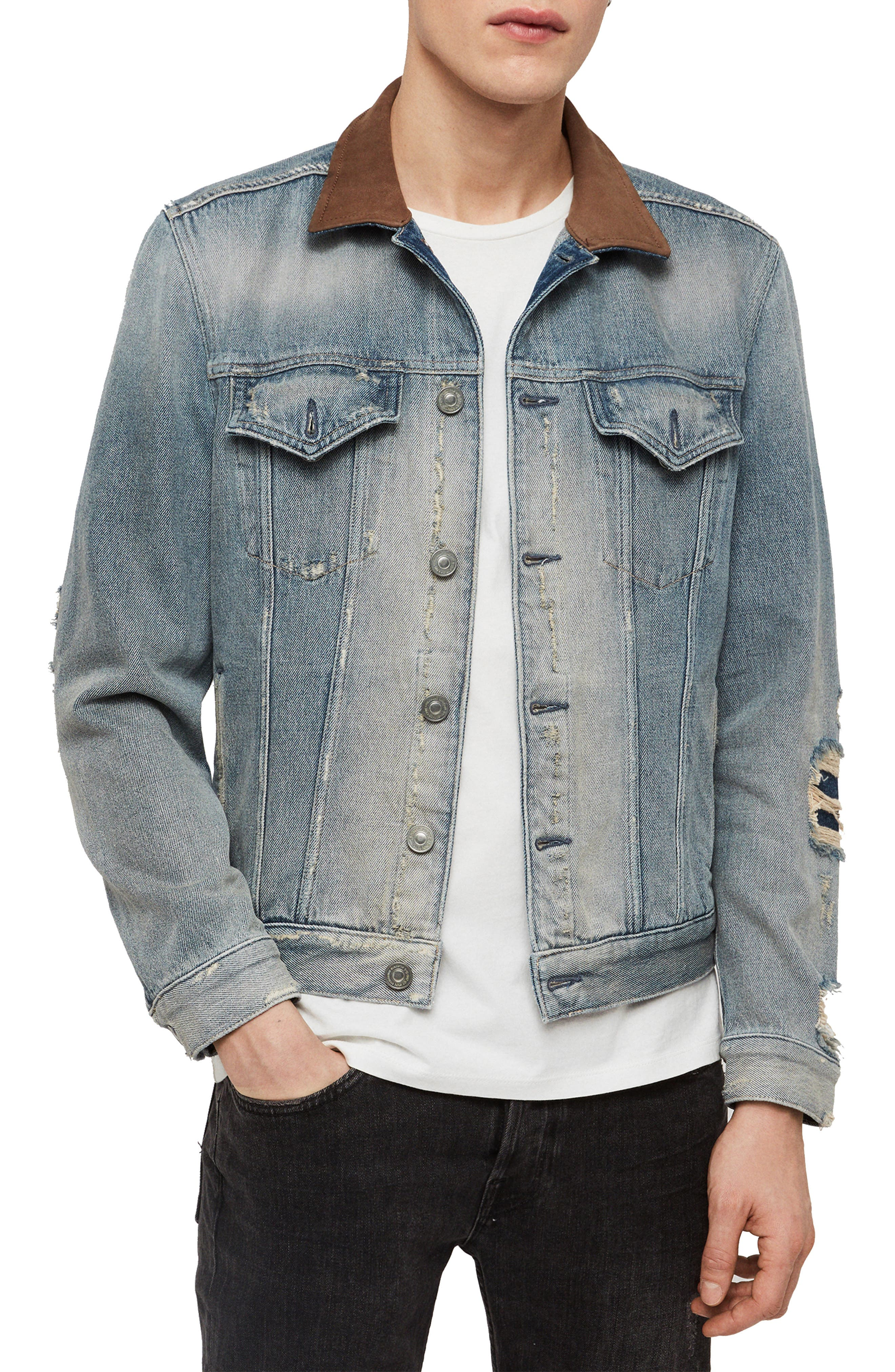ALLSAINTS Iren Slim Fit Denim Jacket with Leather Collar, Main, color, MID INDIGO BLUE
