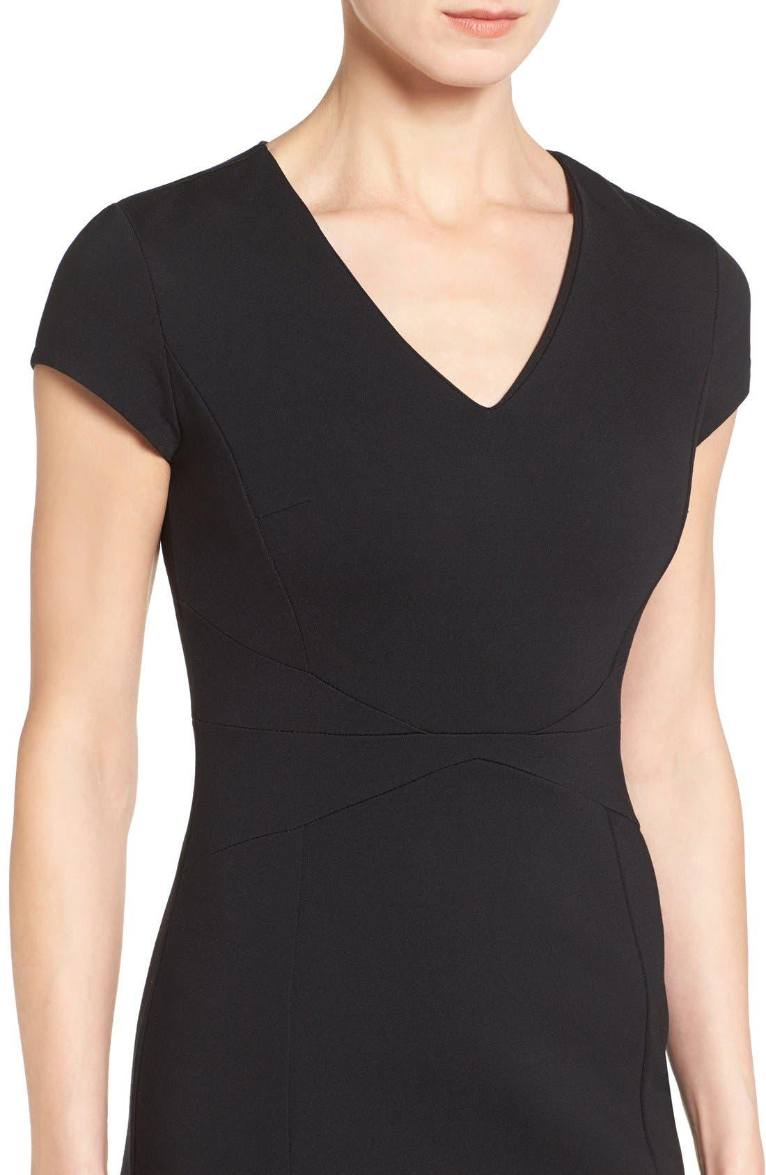 HALOGEN<SUP>®</SUP>, Seamed V-Neck Ponte Sheath Dress, Alternate thumbnail 3, color, 001