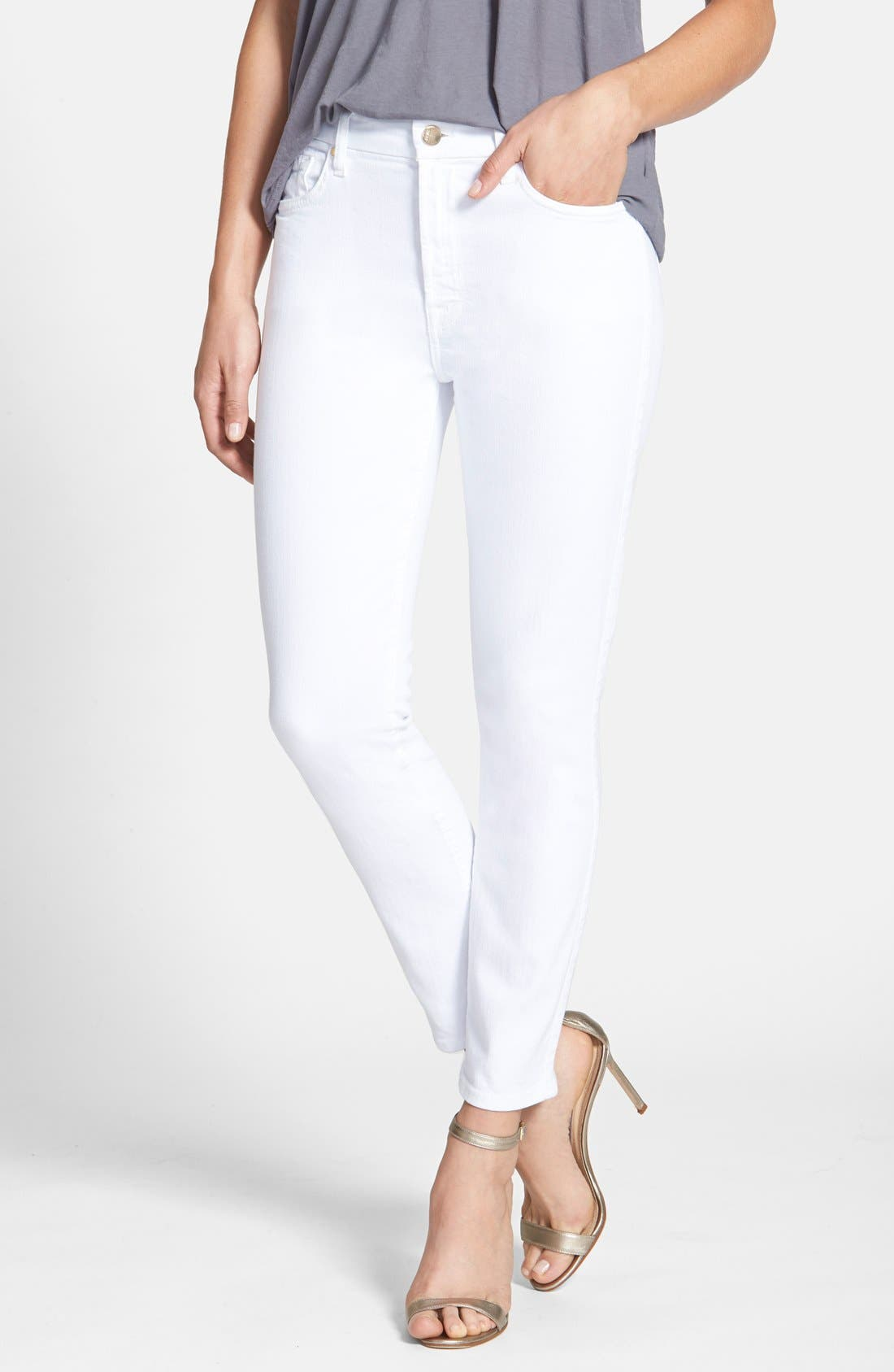 JEN7 BY 7 FOR ALL MANKIND, Stretch Crop Skinny Jeans, Main thumbnail 1, color, WHITE DENIM