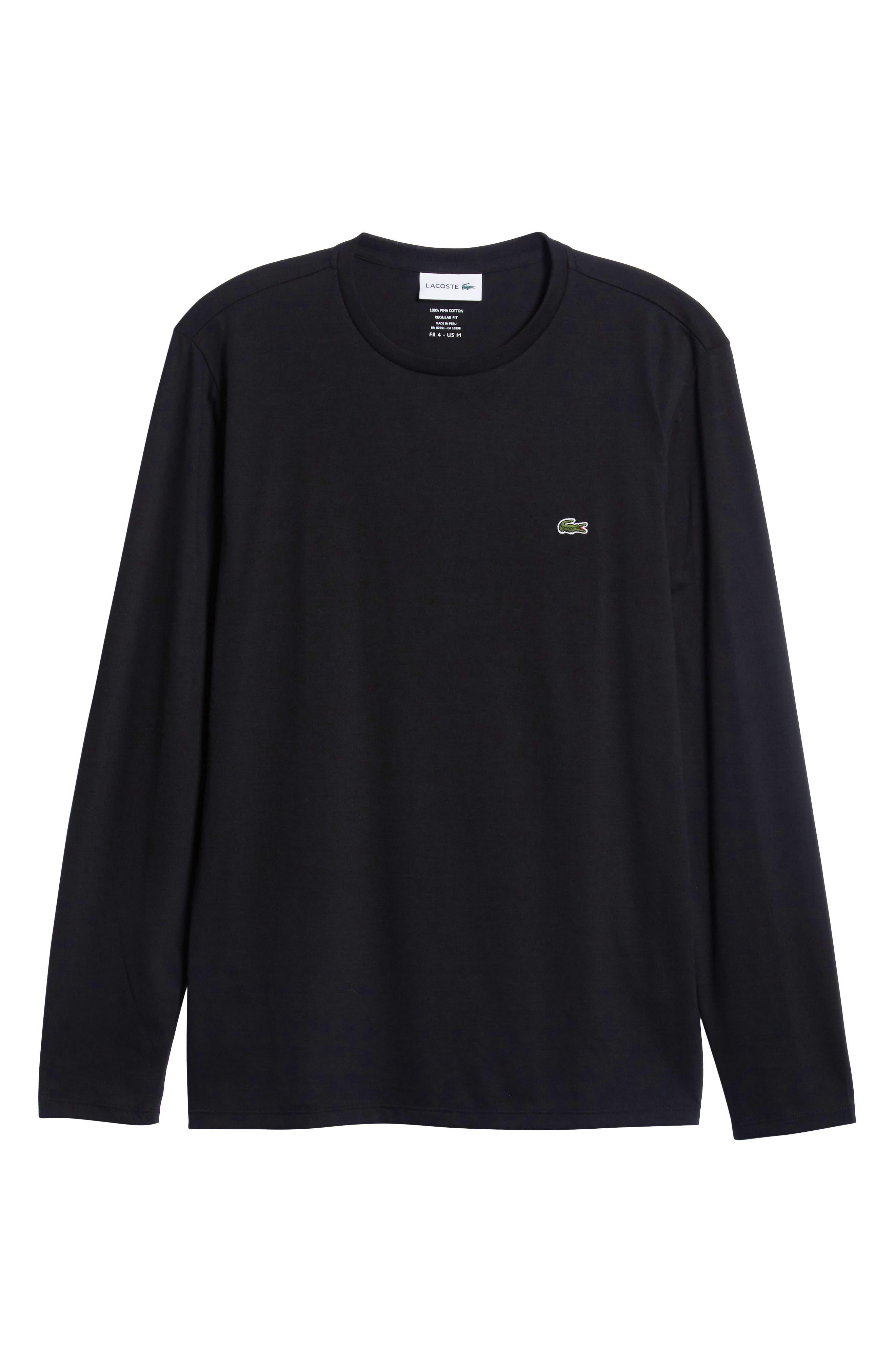 LACOSTE, Long Sleeve Pima Cotton T-Shirt, Alternate thumbnail 6, color, BLACK
