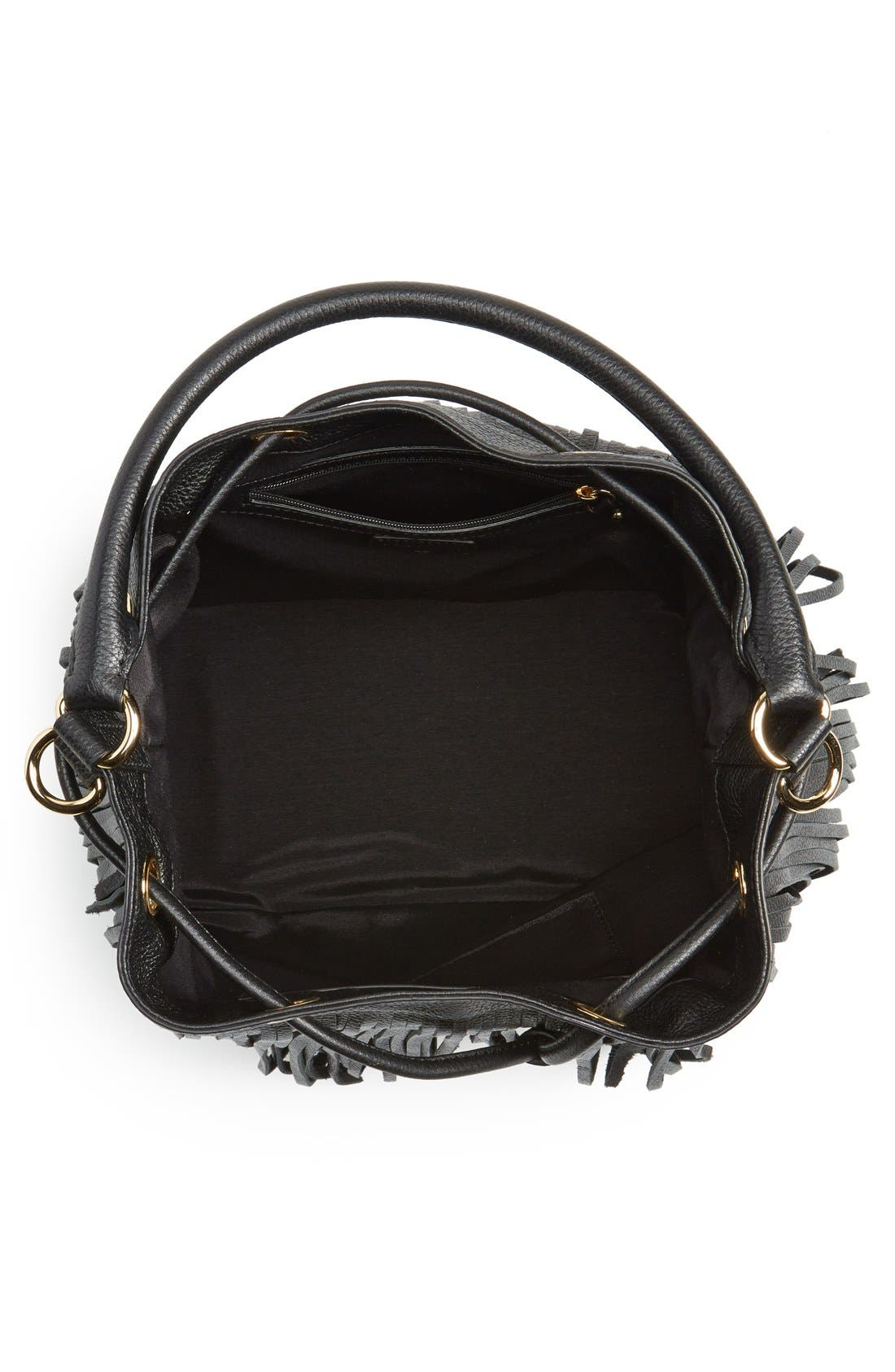 MILLY, 'Essex' Fringed Leather Bucket Bag, Alternate thumbnail 5, color, 001