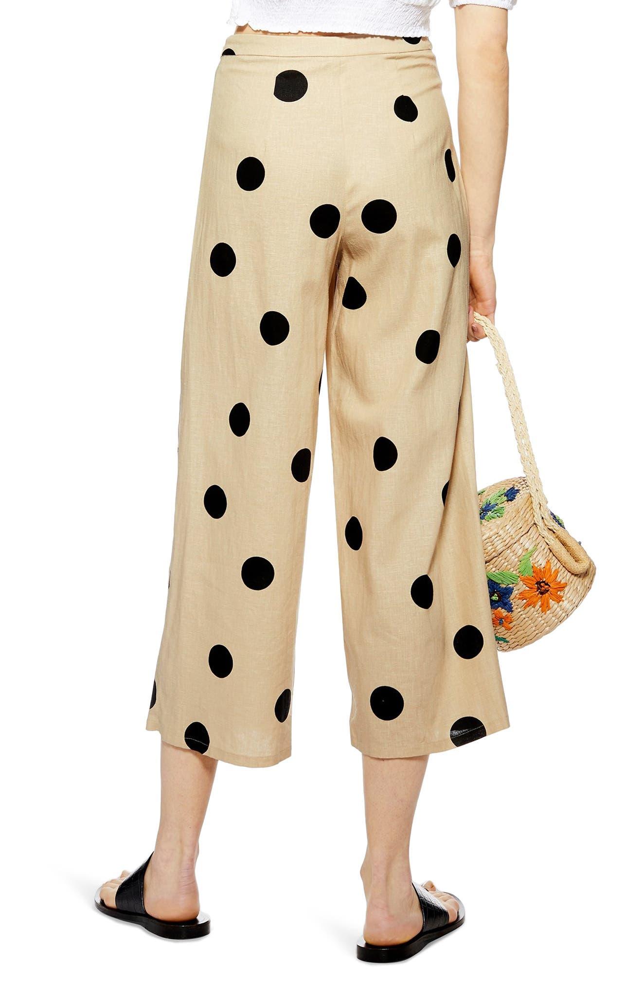 TOPSHOP, Lulu Spot Cropped Wide Leg Pants, Alternate thumbnail 2, color, 250