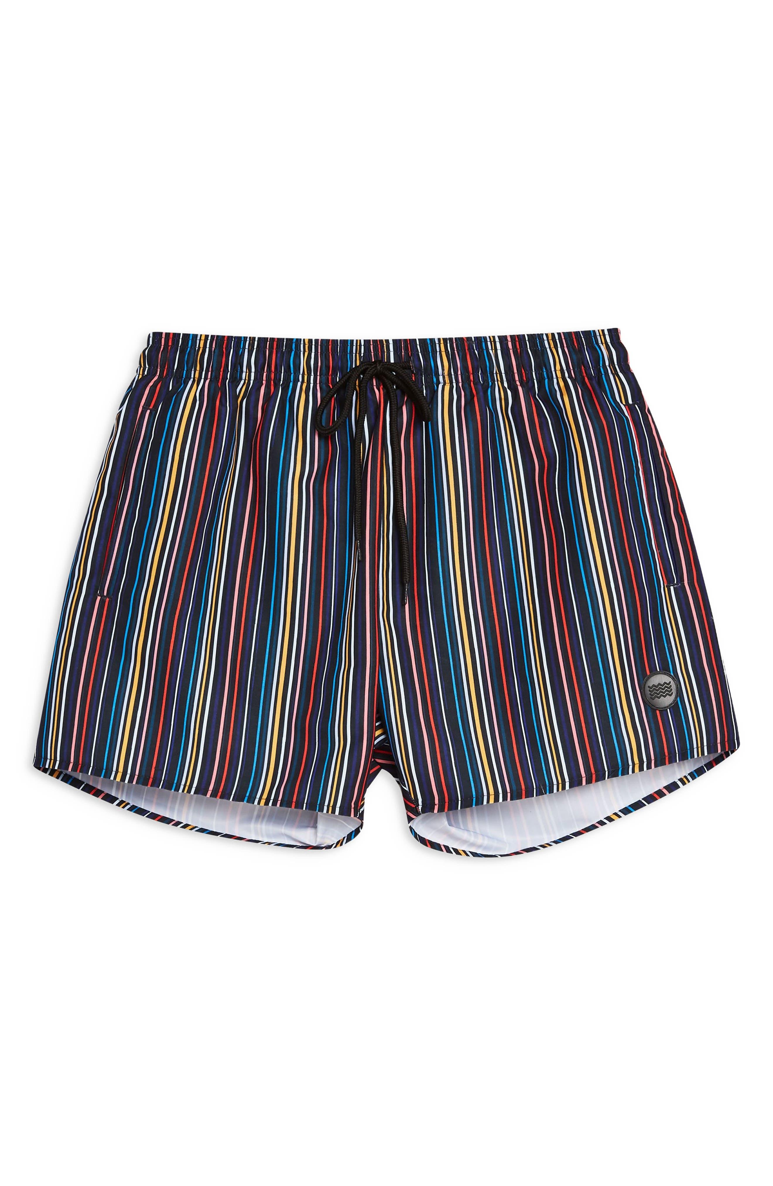 TOPMAN, Pinstripe Swim Shorts, Alternate thumbnail 4, color, BLACK MULTI