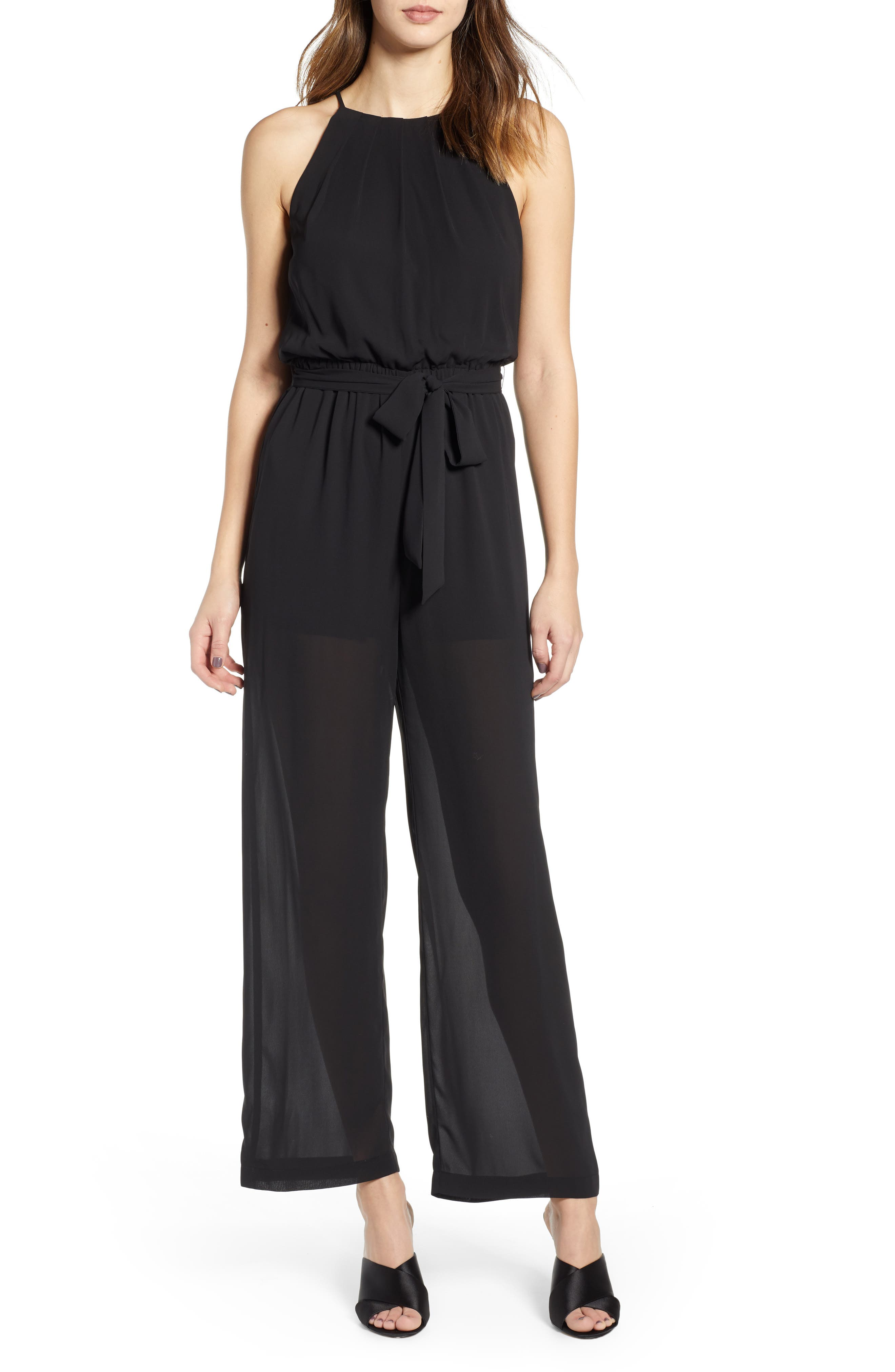 ALL IN FAVOR, Blouson Chiffon Jumpsuit, Main thumbnail 1, color, BLACK