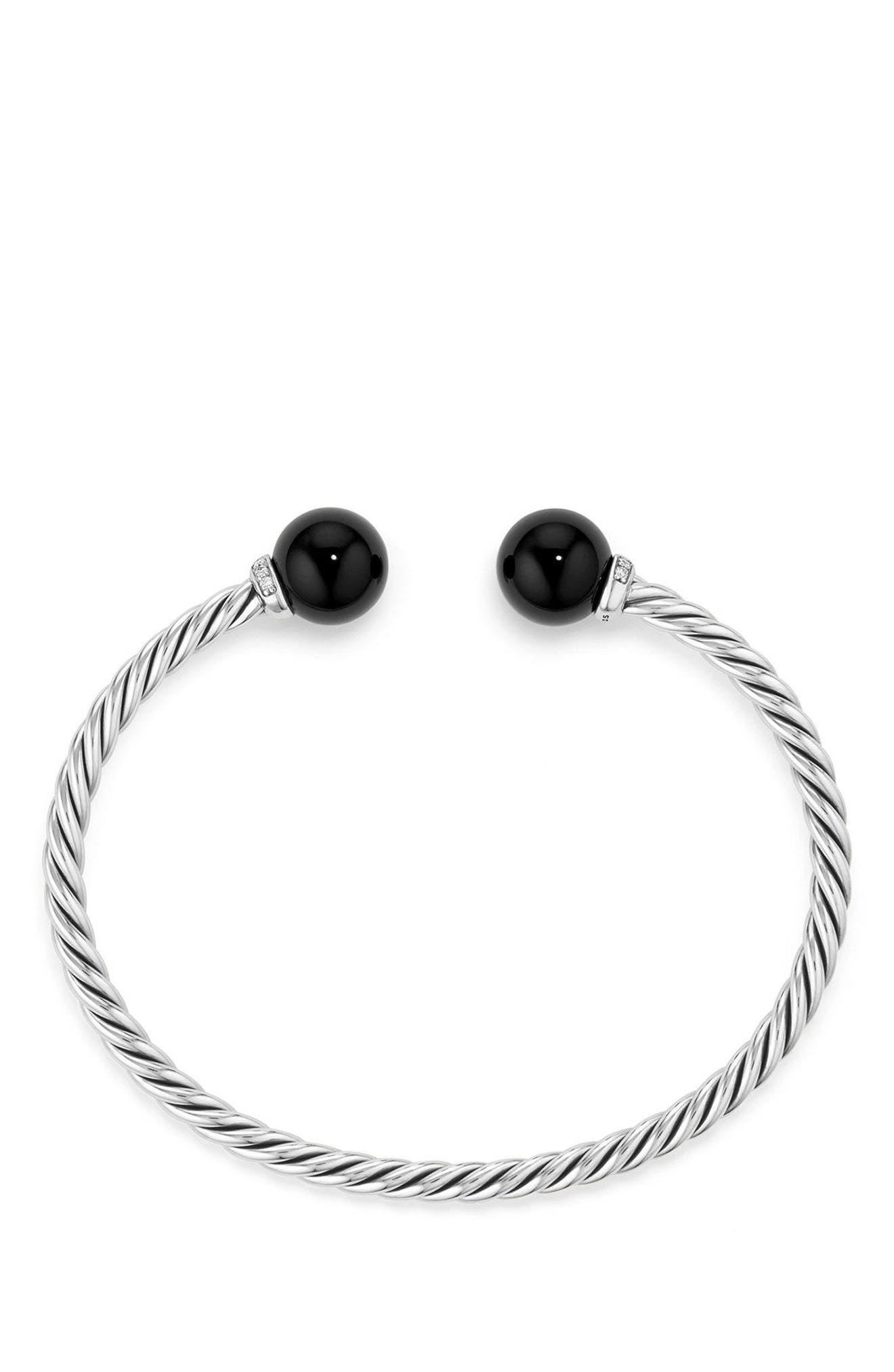 DAVID YURMAN, Solari Bead Bracelet with Diamonds, Alternate thumbnail 2, color, SILVER/ DIAMOND/ BLACK ONYX