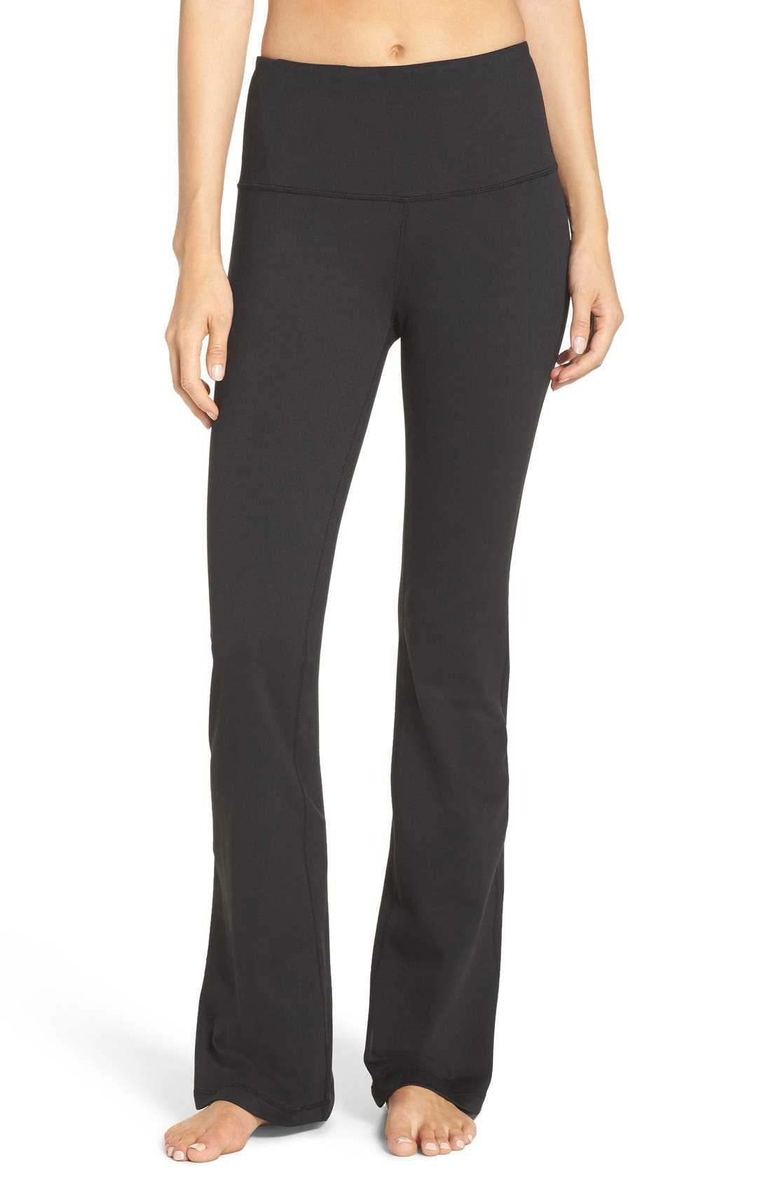 ZELLA Barely Flare Live in High Waist Pants, Main, color, BLACK