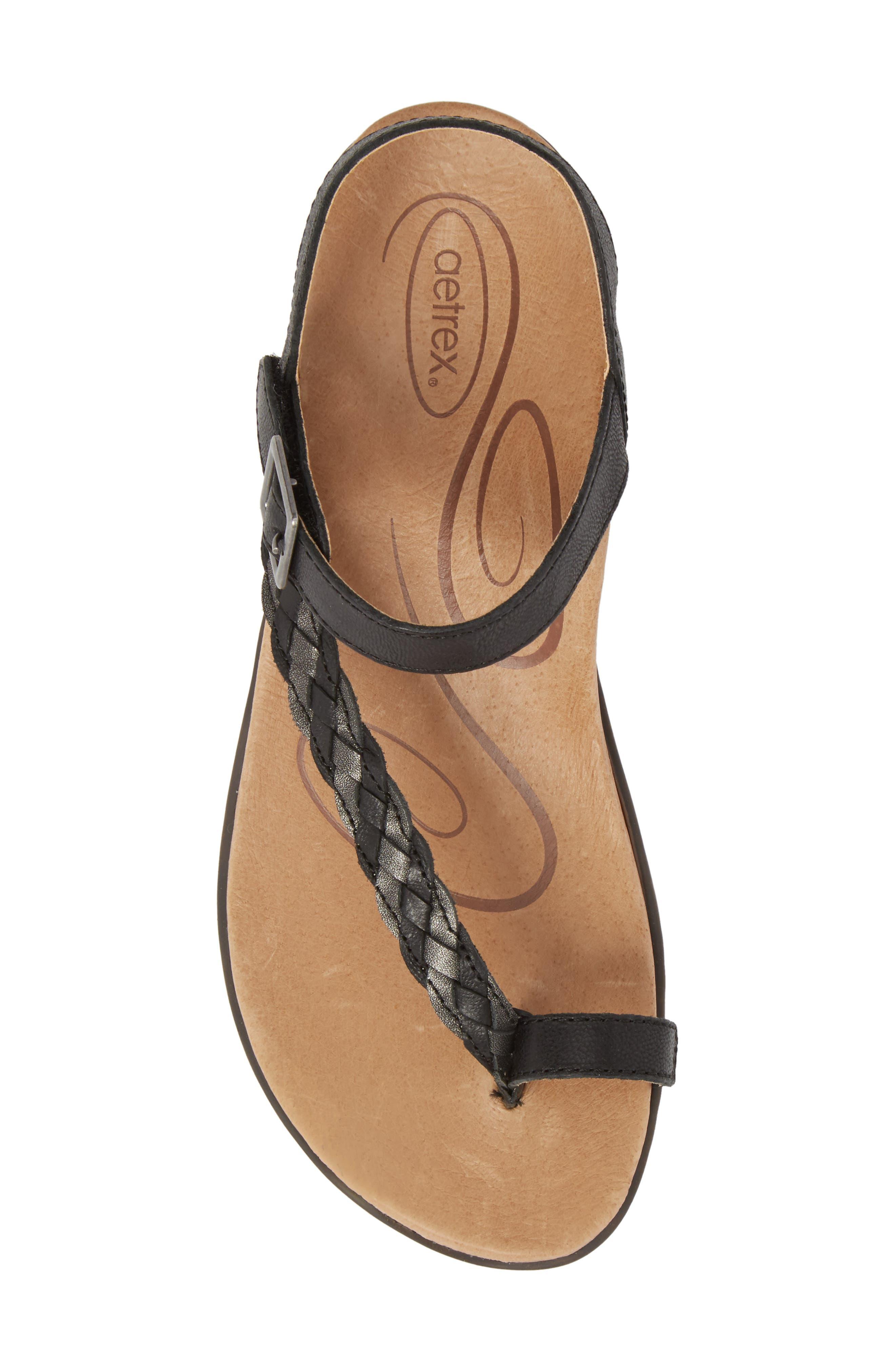 AETREX, Evie Braided Strap Sandal, Alternate thumbnail 5, color, BLACK LEATHER