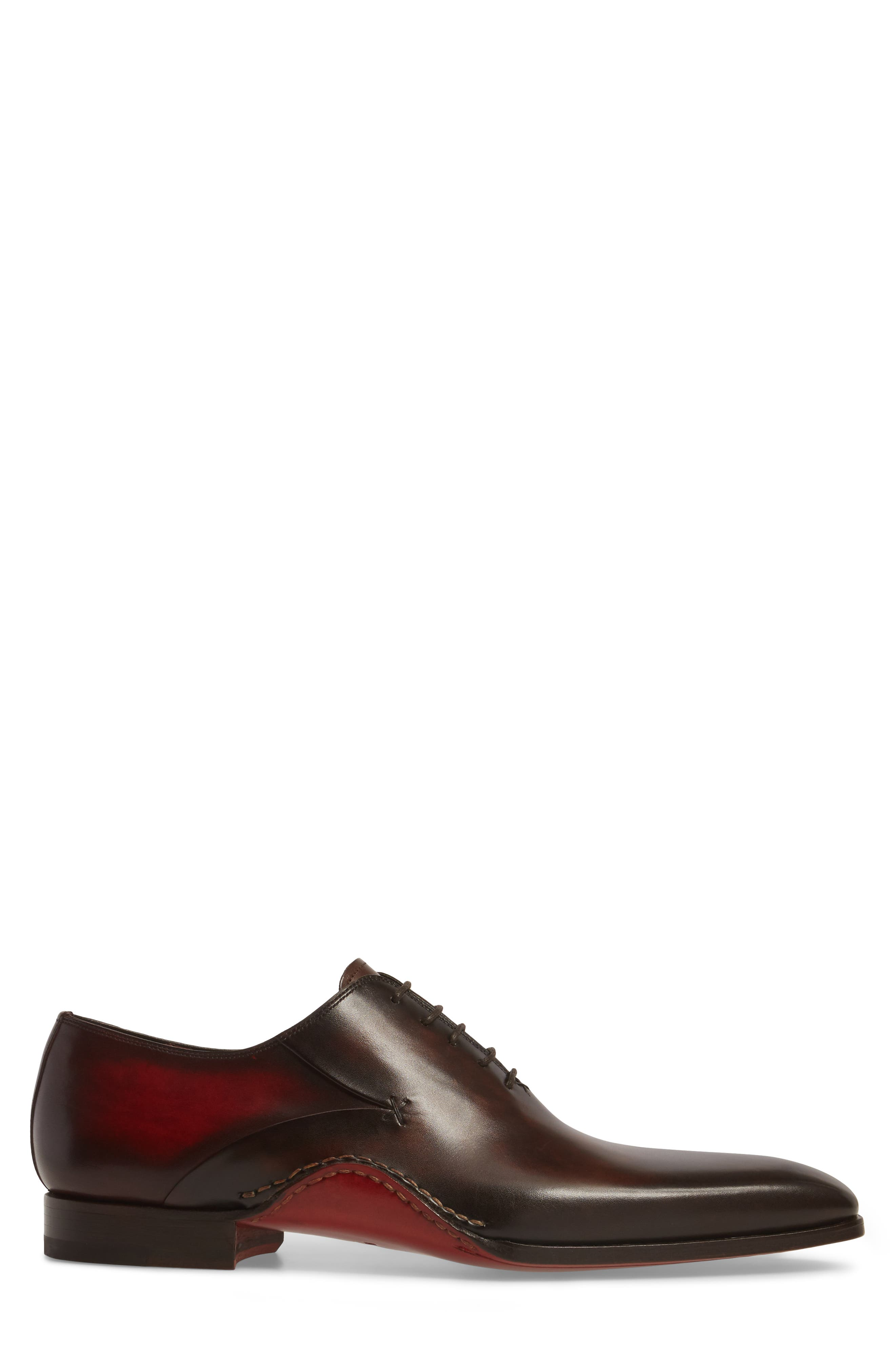 MAGNANNI, Cantabria Plain Toe Oxford, Alternate thumbnail 3, color, BROWN/ RED LEATHER