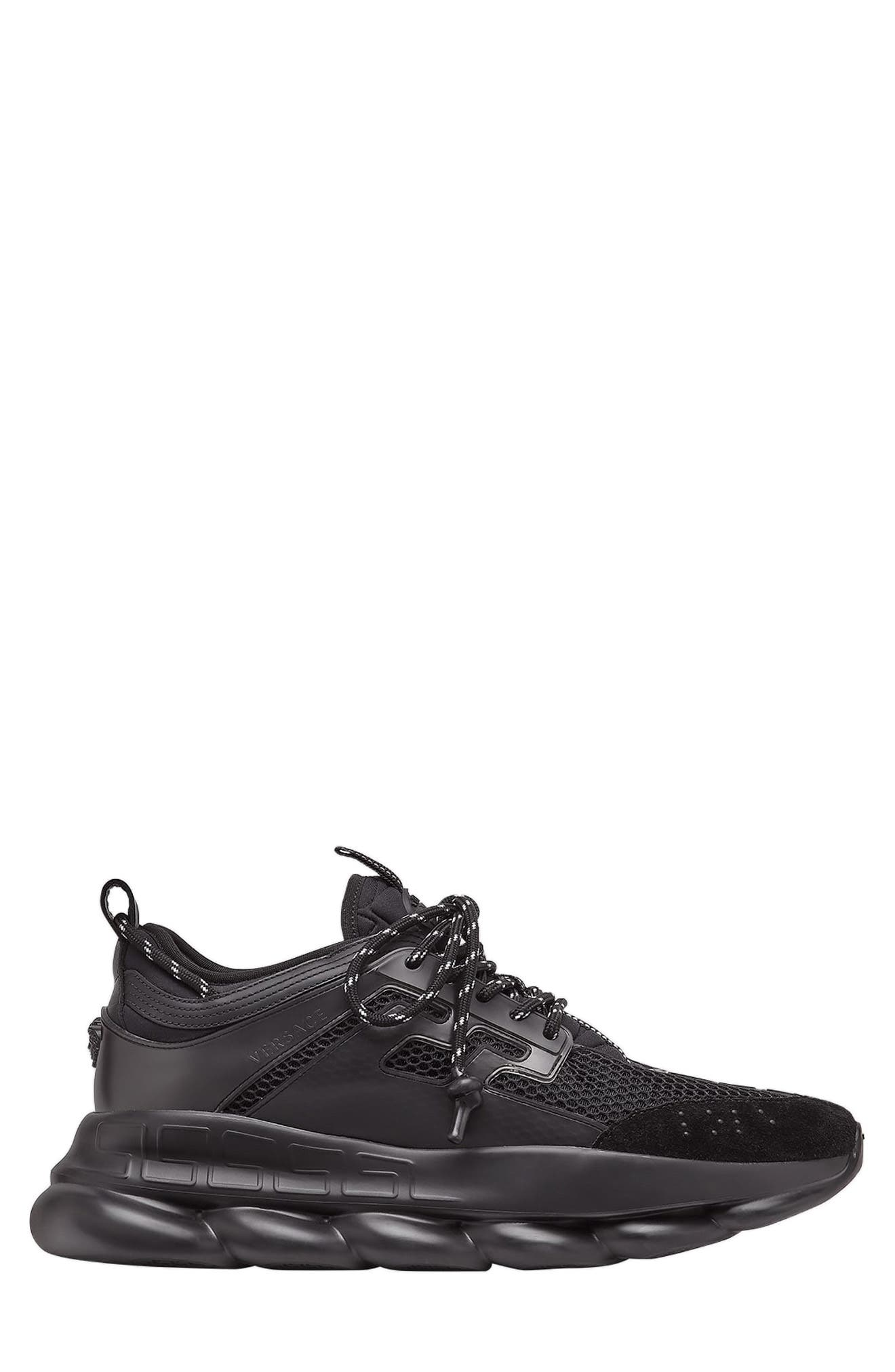 VERSACE FIRST LINE, Versace Chain Reaction Sneaker, Alternate thumbnail 3, color, NERO