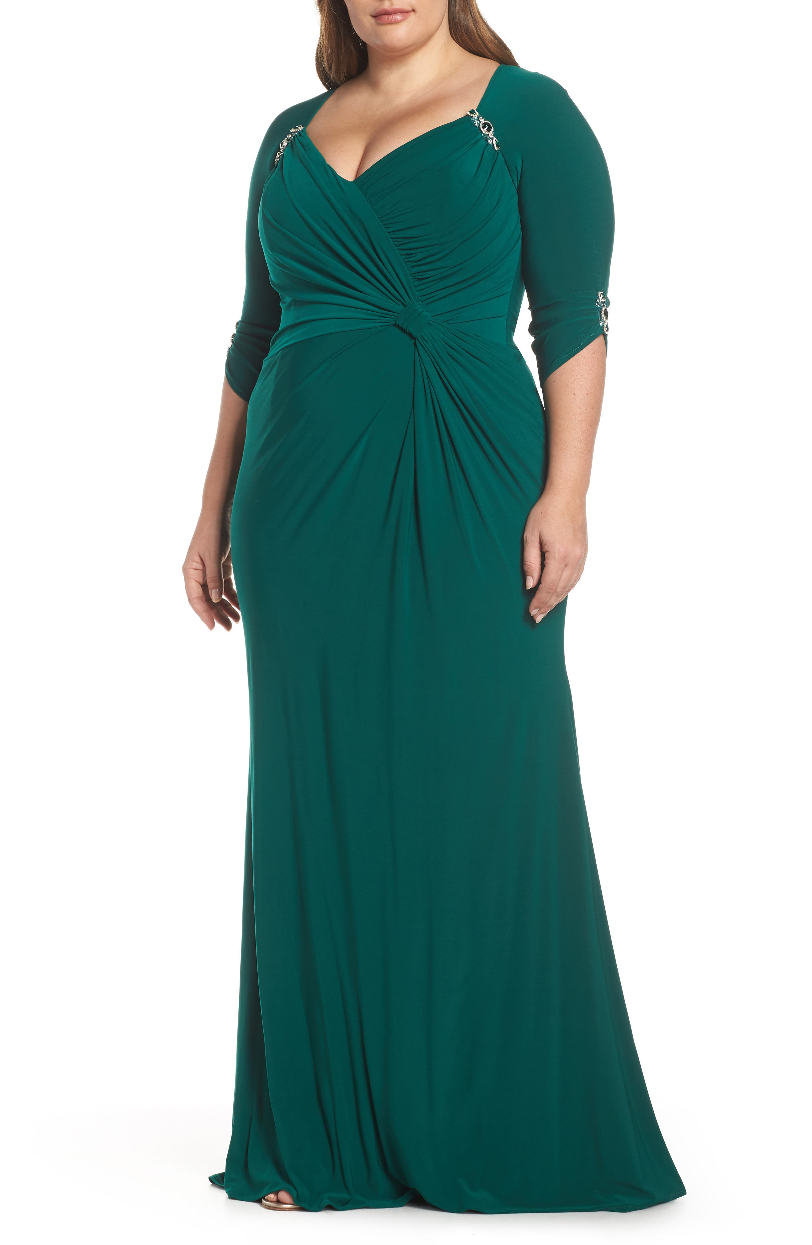 Plus Size MAC Duggal Crystal Embellished Twist Front Evening Dress, Green
