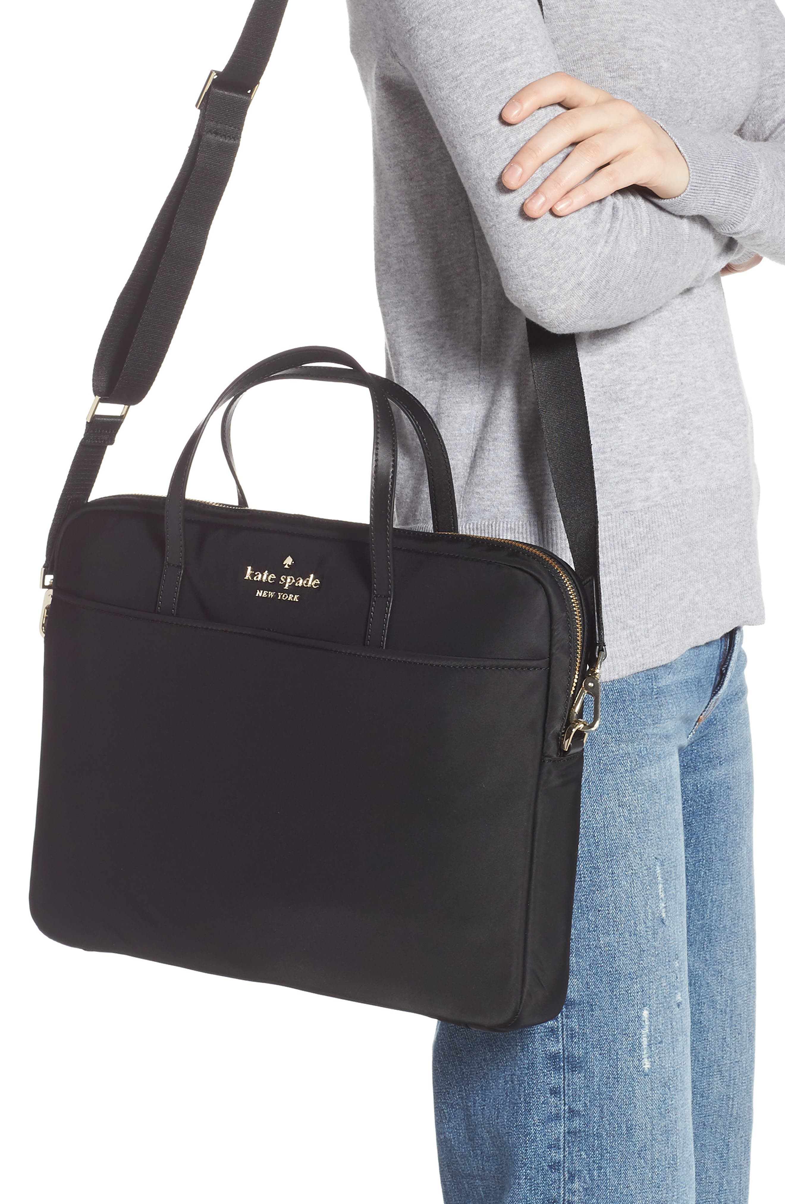 KATE SPADE NEW YORK, uni slim laptop commuter bag, Alternate thumbnail 2, color, BLACK