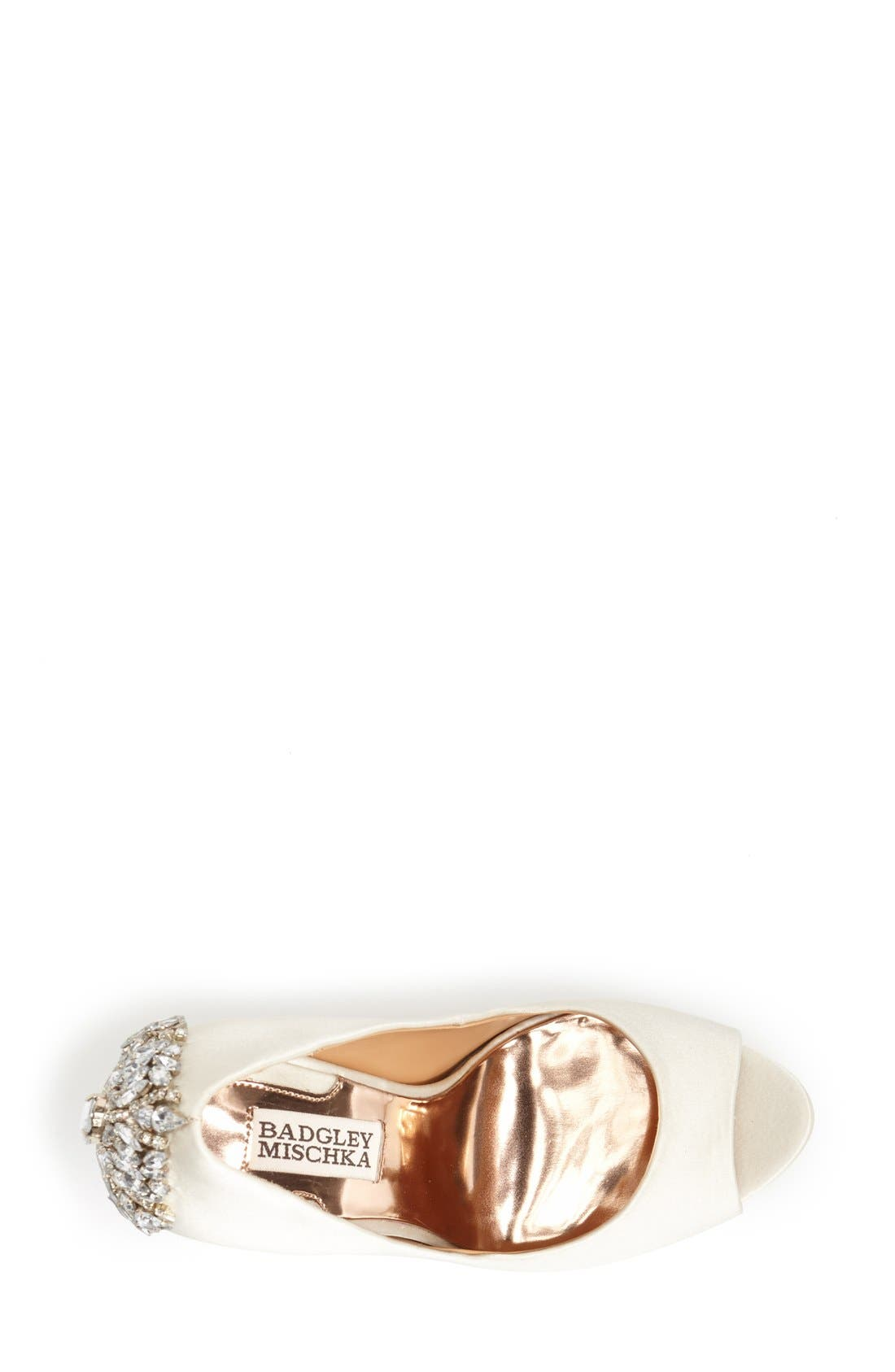 BADGLEY MISCHKA COLLECTION, Badgley Mischka 'Kiara' Crystal Back Open Toe Pump, Alternate thumbnail 3, color, IVORY SATN