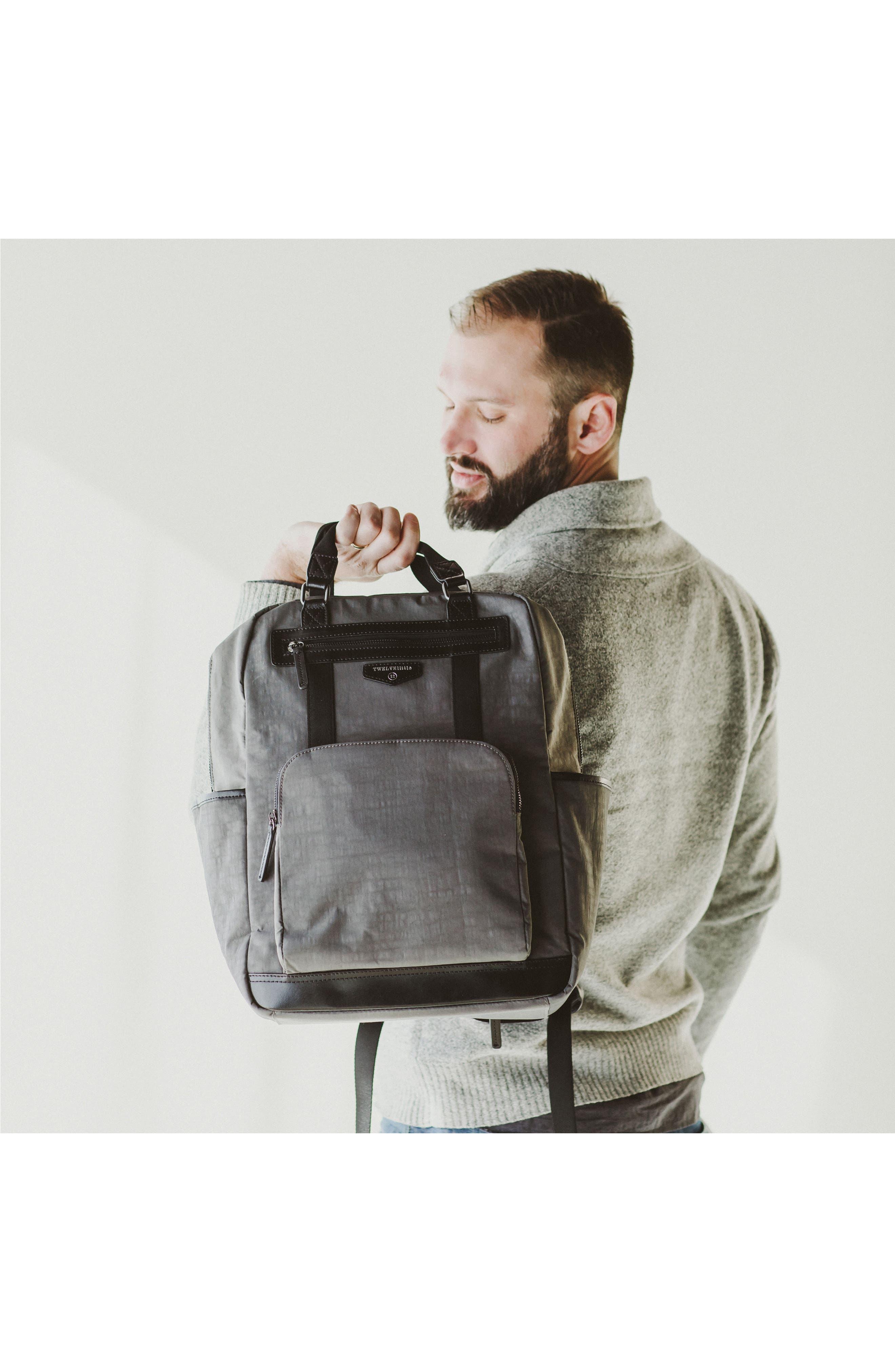 TWELVELITTLE, 'Courage' Unisex Backpack Diaper Bag, Alternate thumbnail 10, color, DARK GREY
