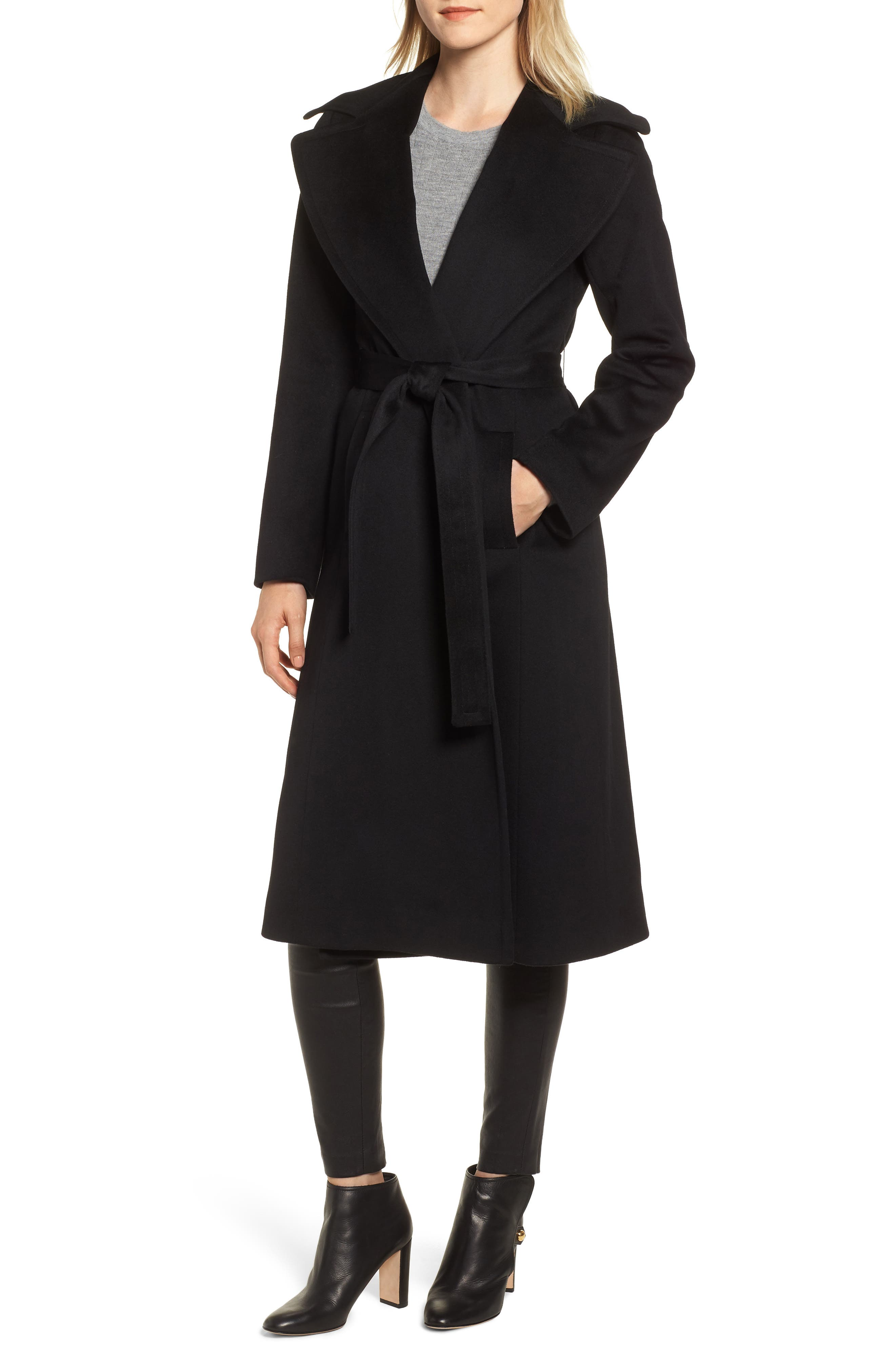 FLEURETTE Loro Piana Wool Wrap Coat, Main, color, 001