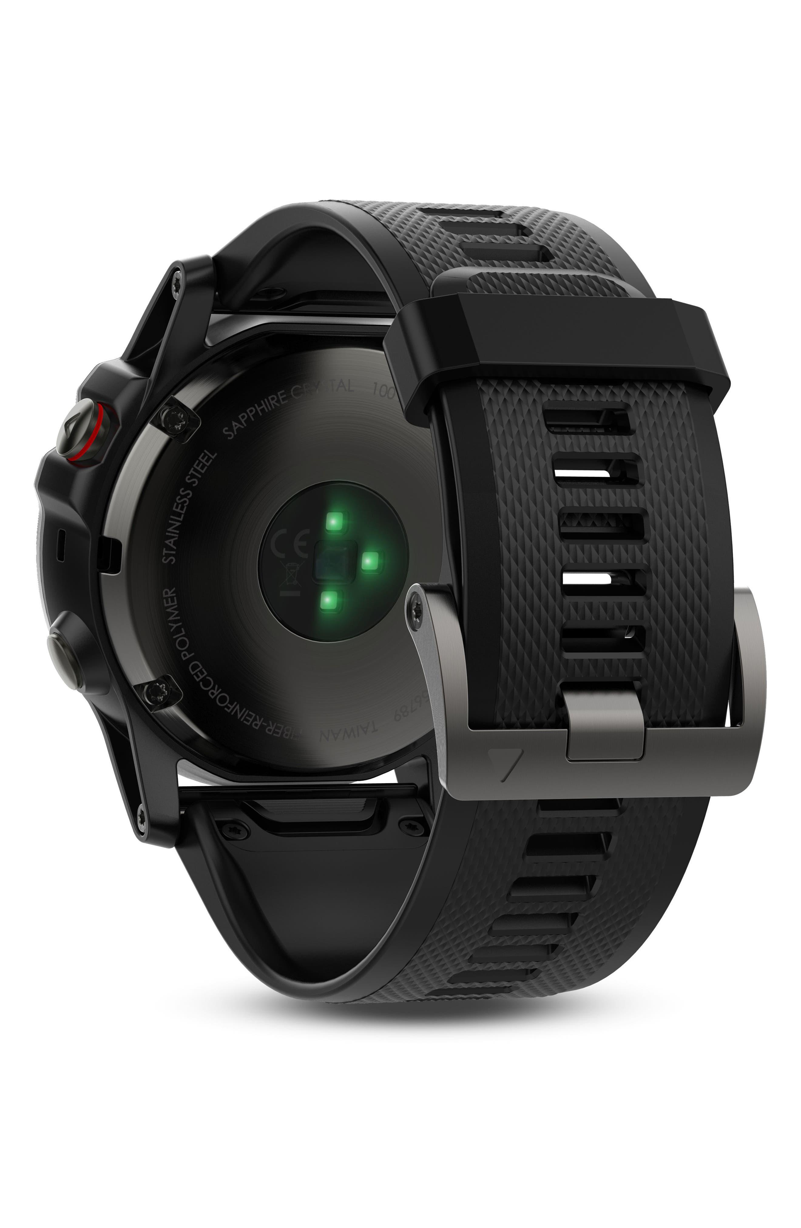 GARMIN, fenix<sup>®</sup> 5X Sapphire Premium Multisport GPS Watch, 51mm, Alternate thumbnail 2, color, BLACK/ SLATE GRAY SAPPHIRE