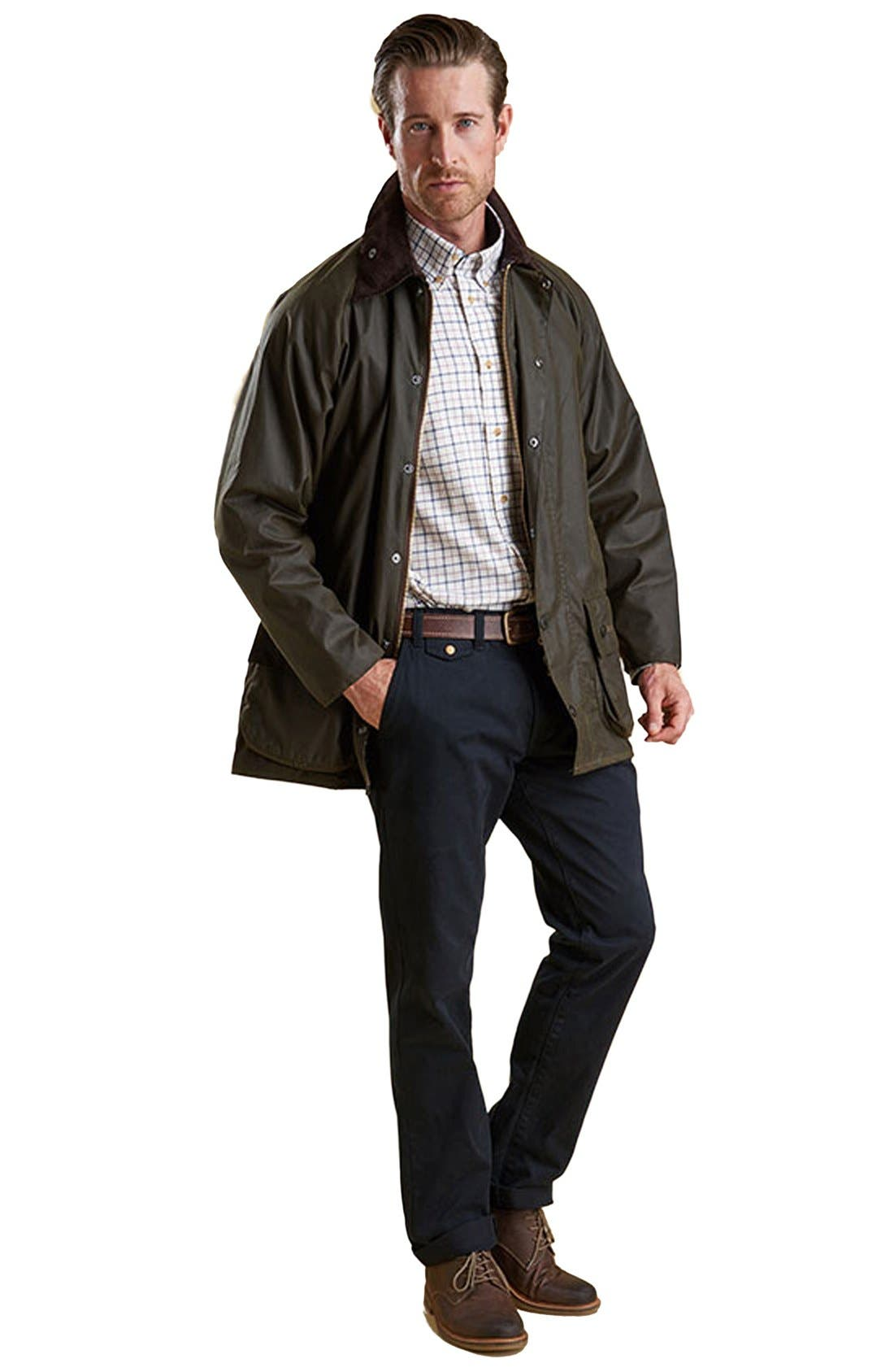 BARBOUR, 'Classic Beaufort' Relaxed Fit Waxed Cotton Jacket, Alternate thumbnail 9, color, OLIVE